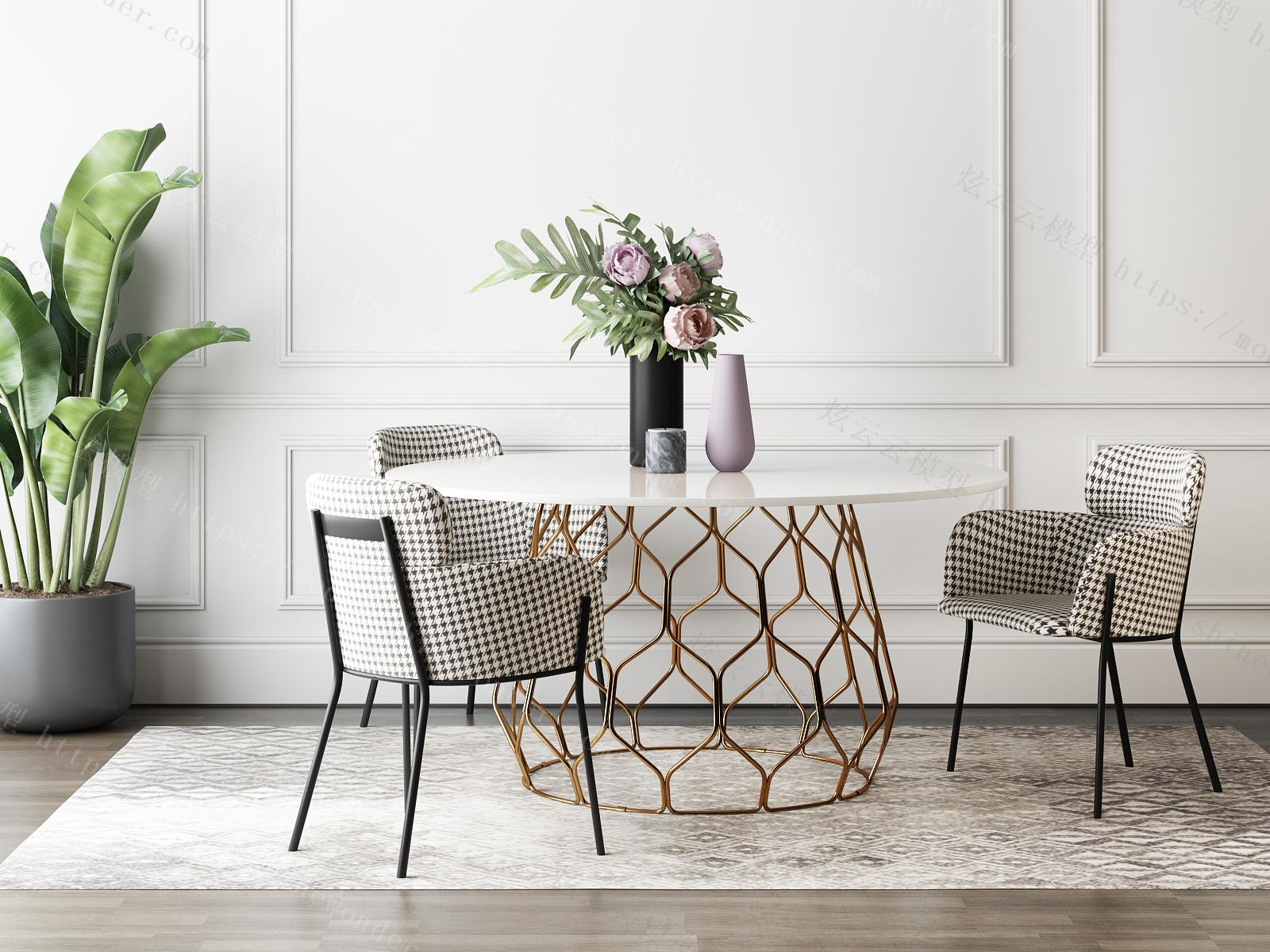 现代轻奢休闲桌椅组合模型