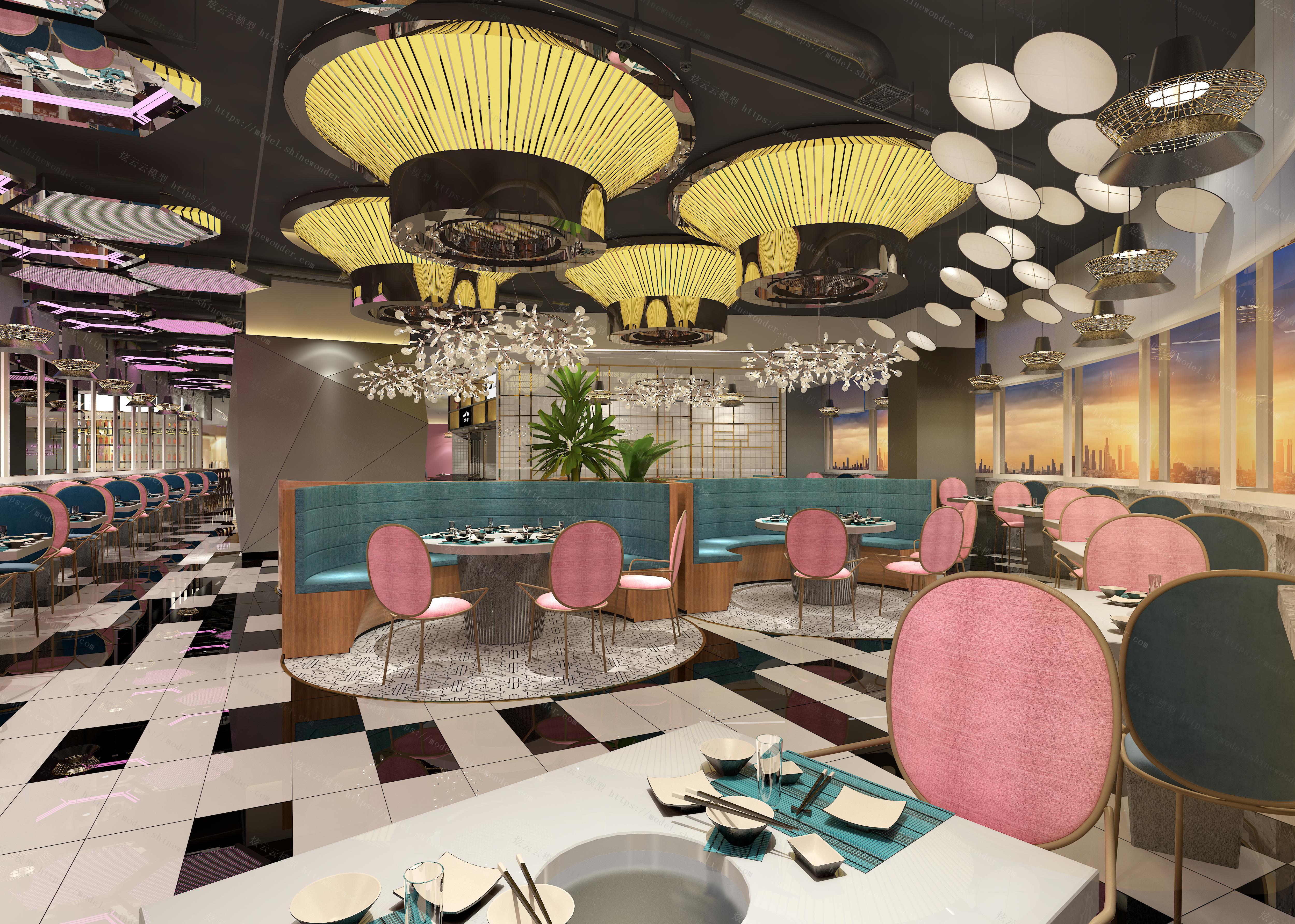 网红餐饮店模型