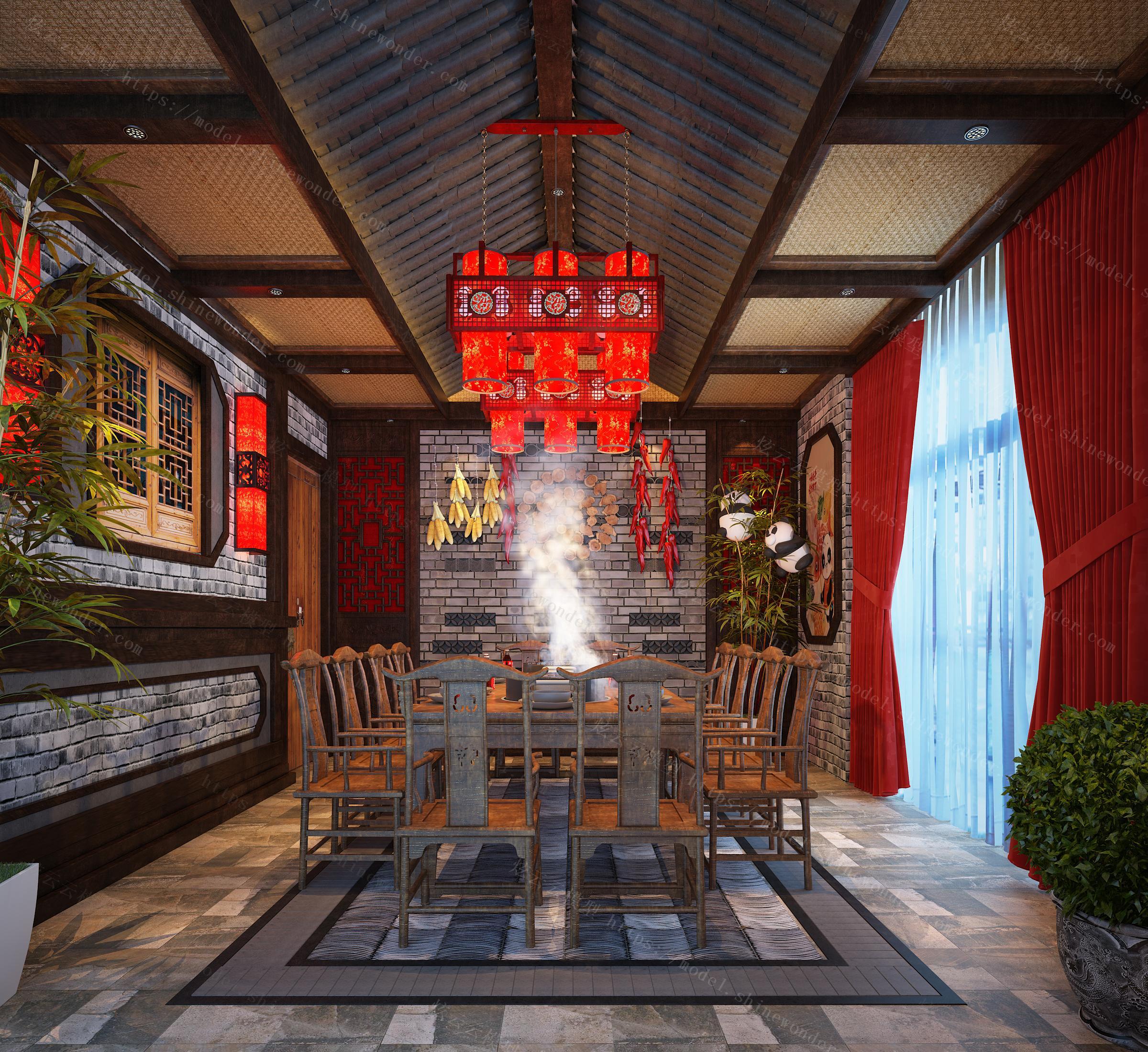 火锅店包房中式火锅店中式包房中式餐厅模型