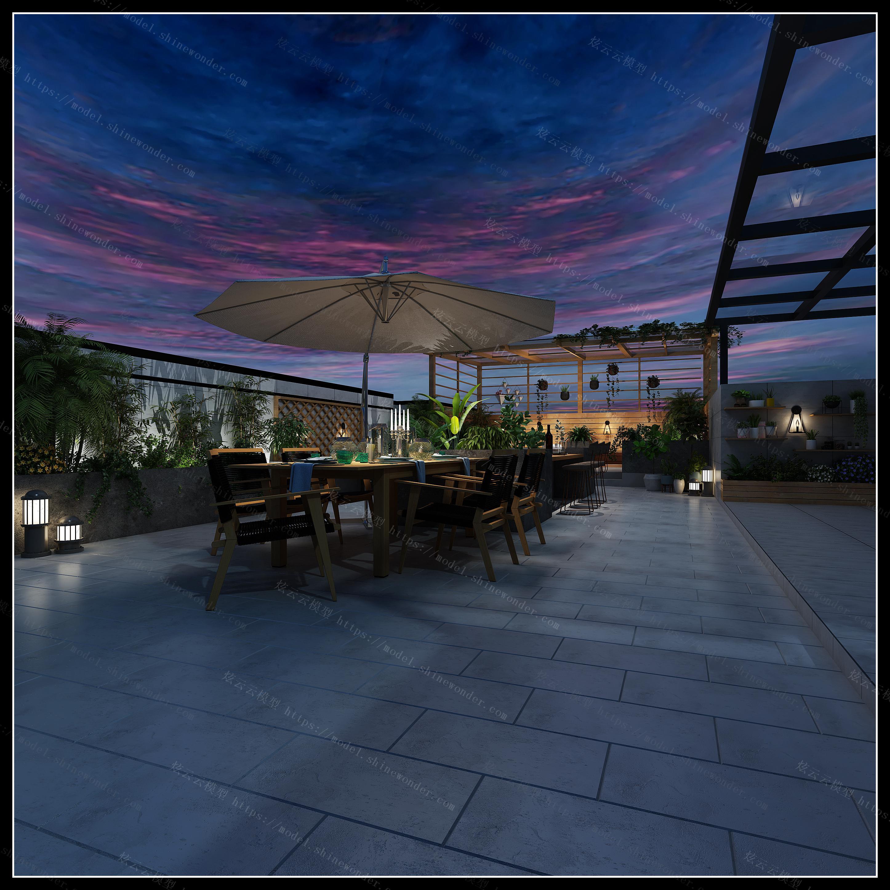 屋顶花园模型