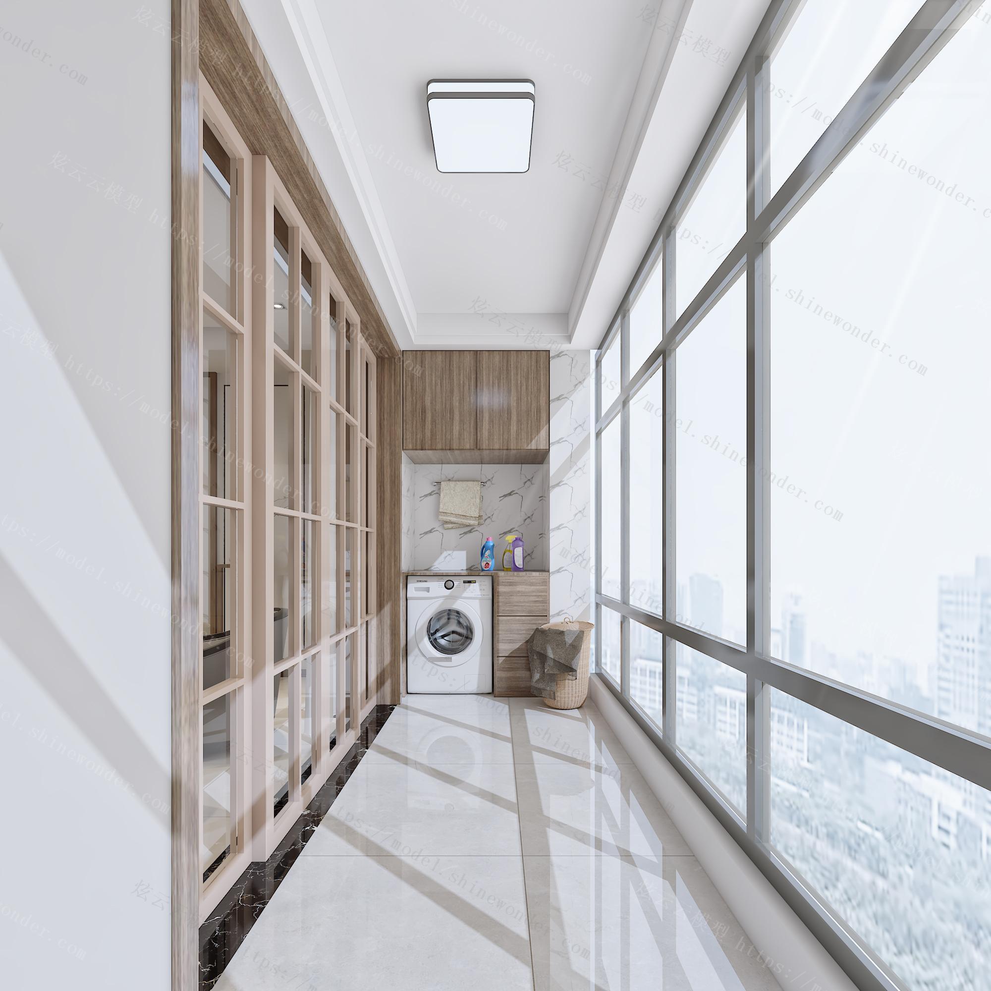 新中式客厅餐厅厨房阳台模型