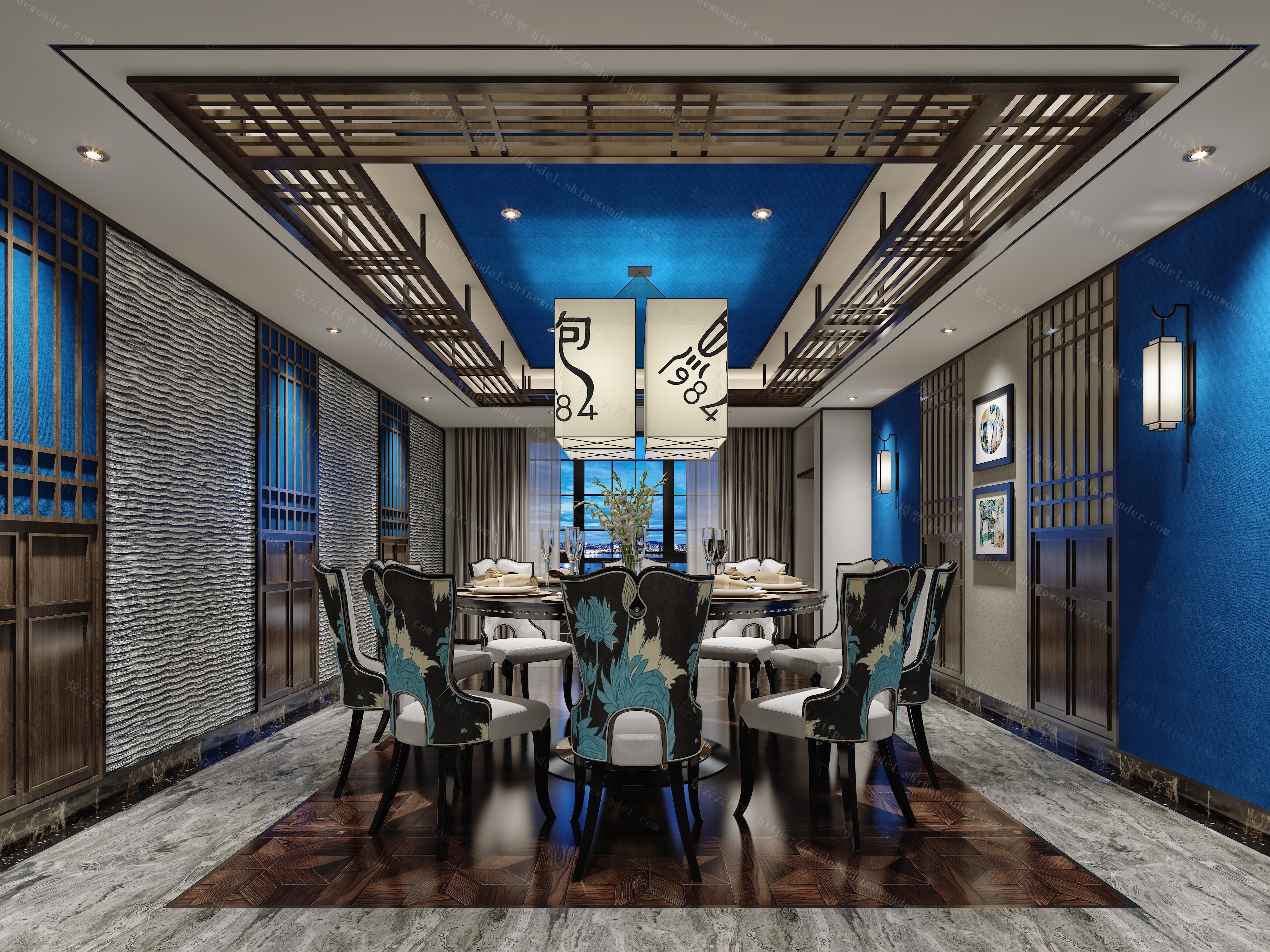 新中式餐厅包间模型