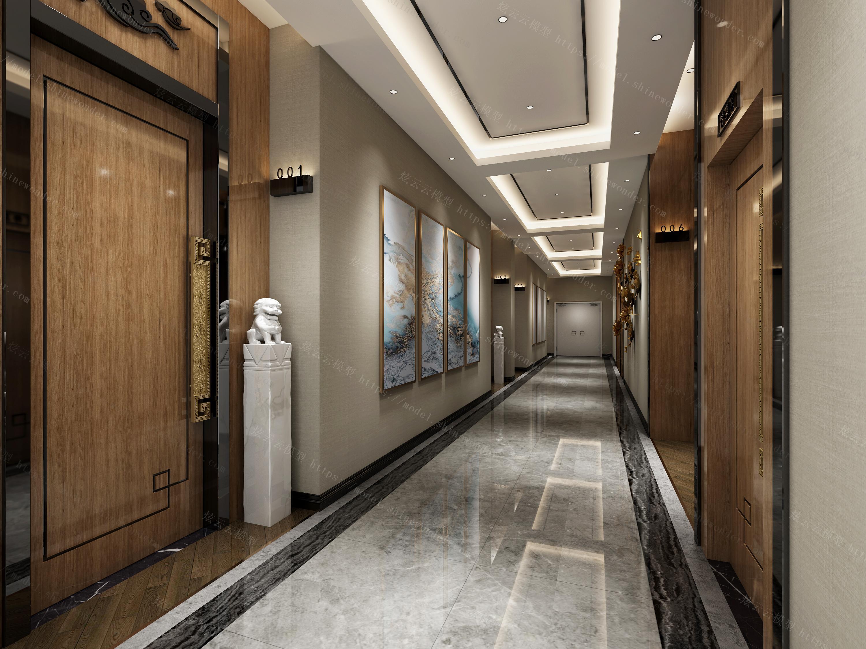 中式宾馆过道模型