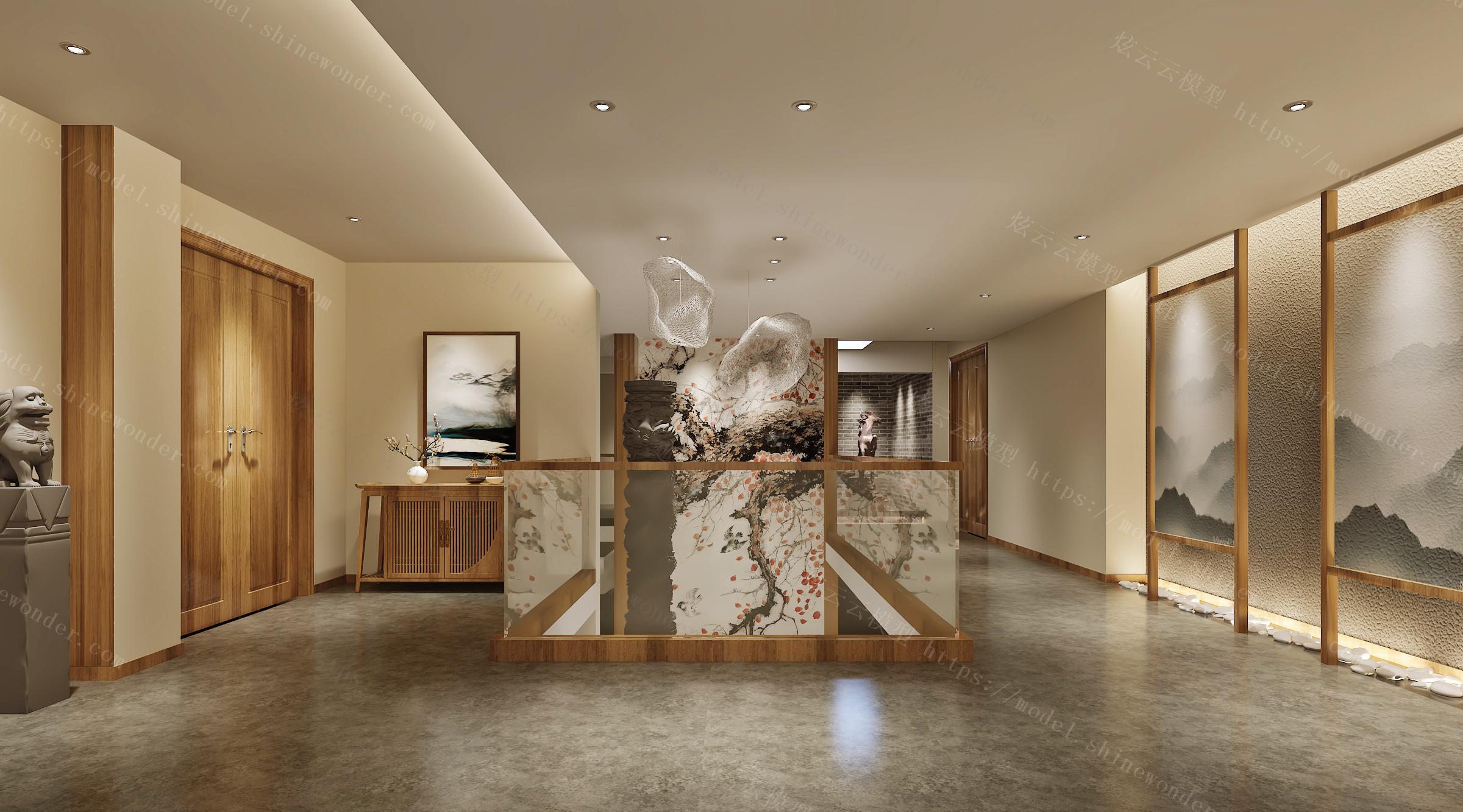 中式客房过道模型