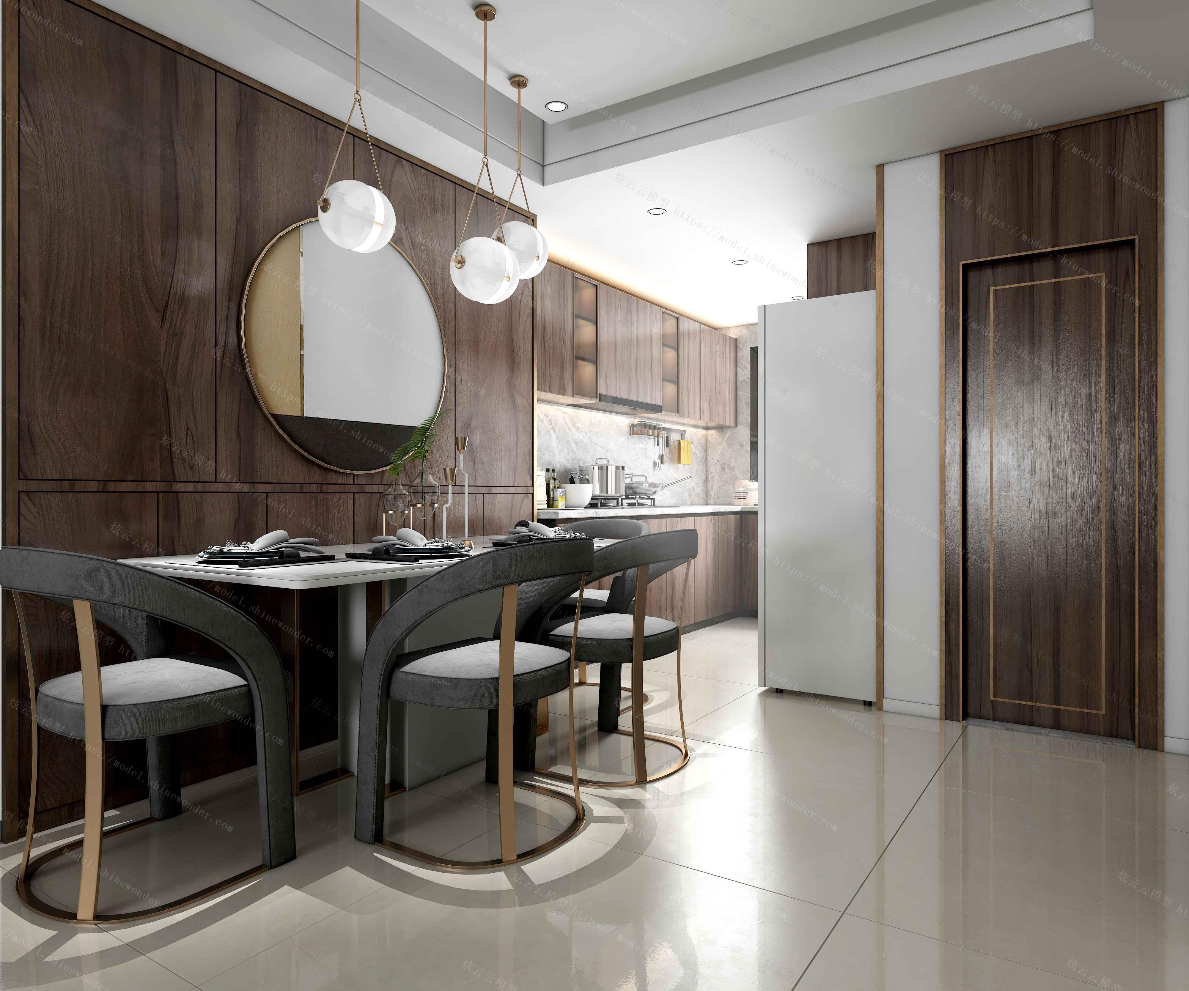 台式餐厅厨房模型