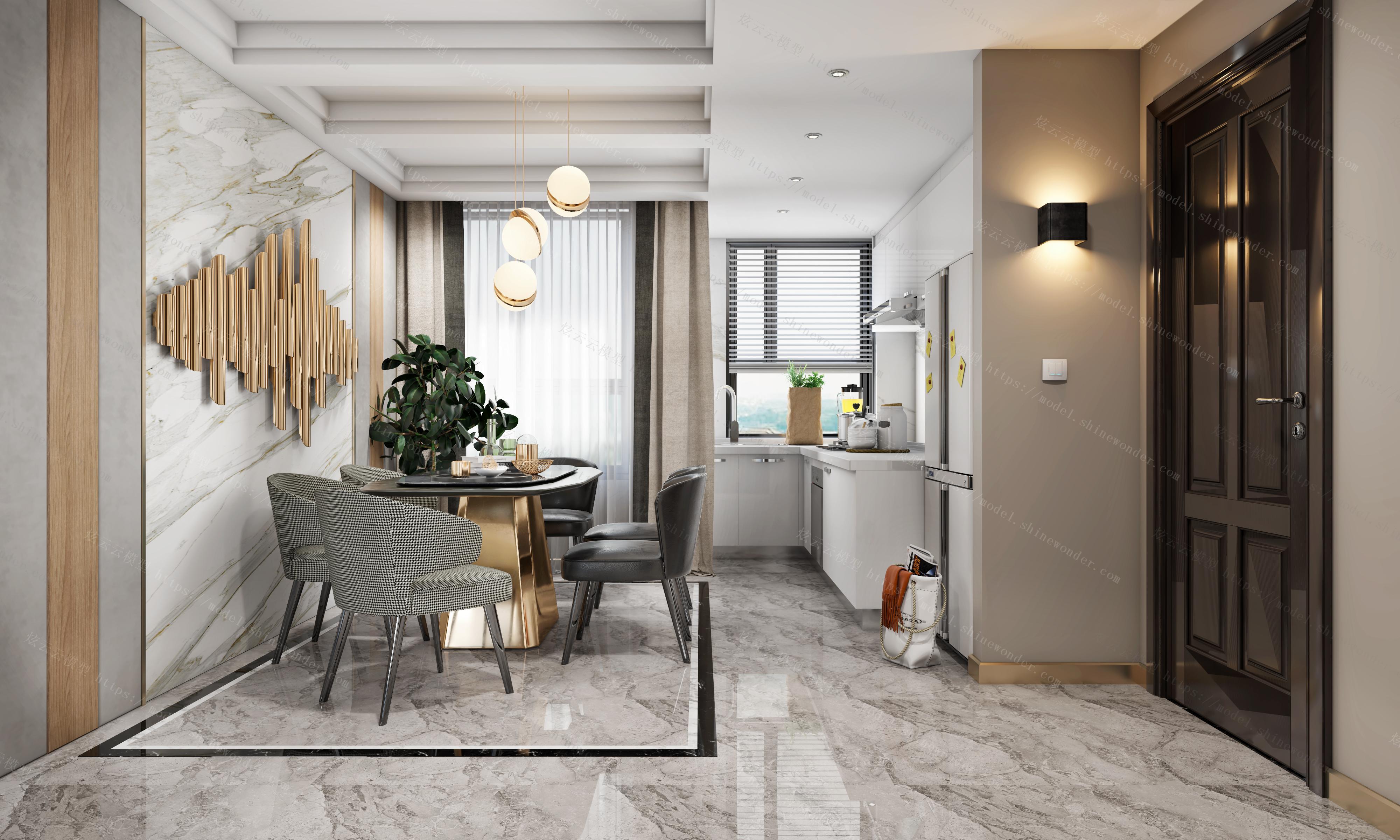现代客餐厅厨房全景模型