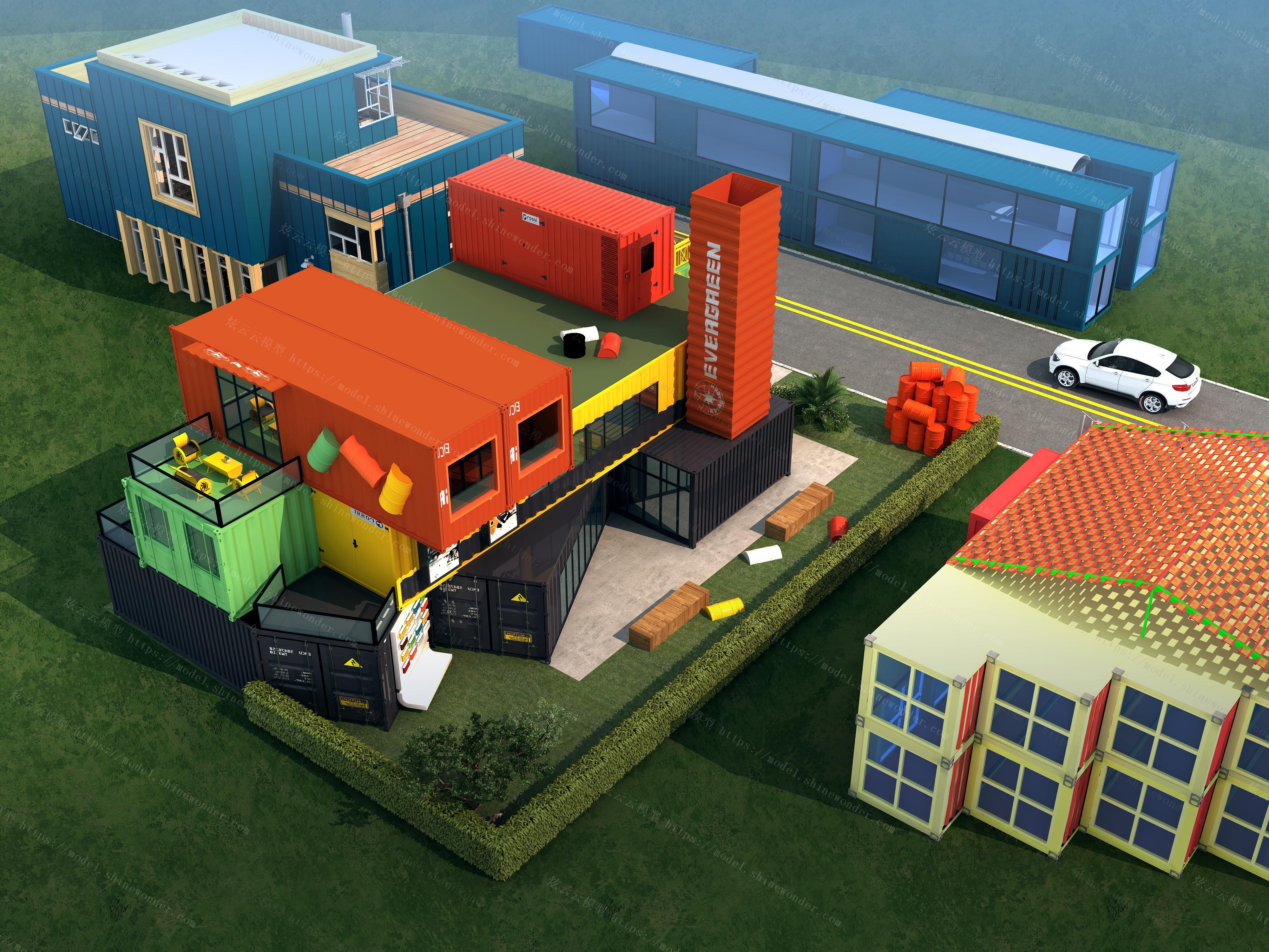 集装箱建筑外观模型