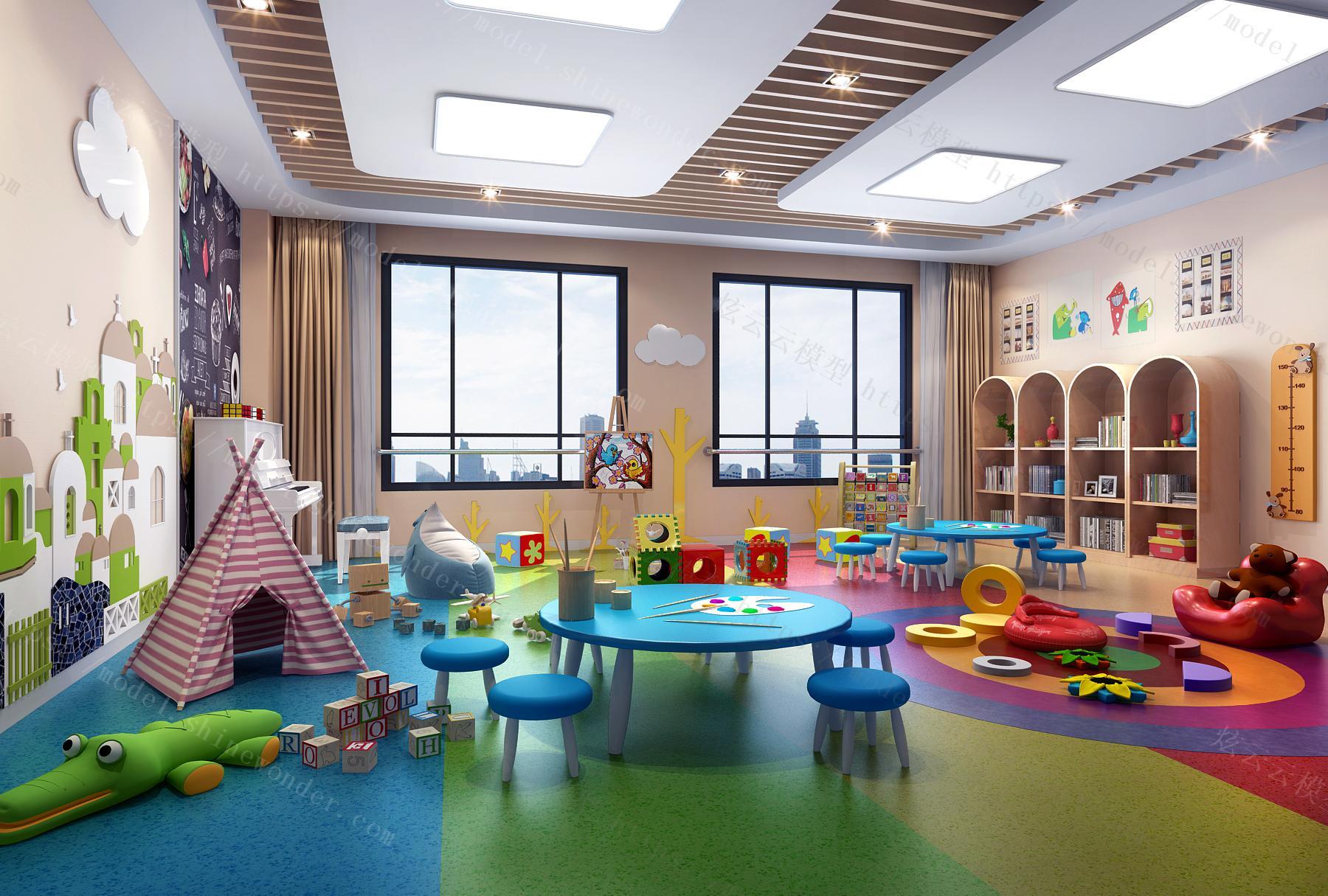 现代儿童休闲娱乐室模型
