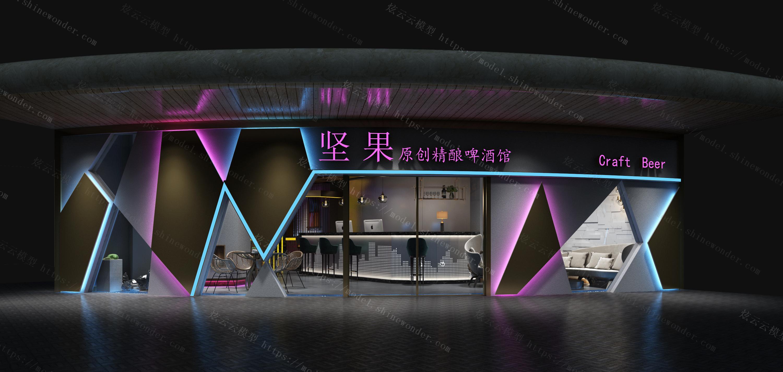 现代餐厅啤酒馆咖啡厅酒吧模型