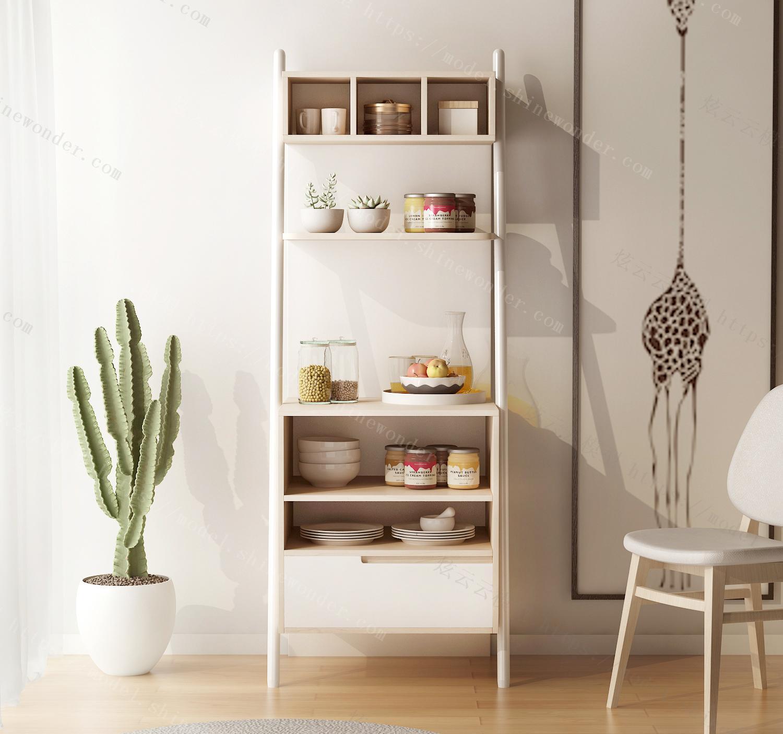 现代简约落地多层靠墙置物架厨房客厅餐厅梯形搁物架模型