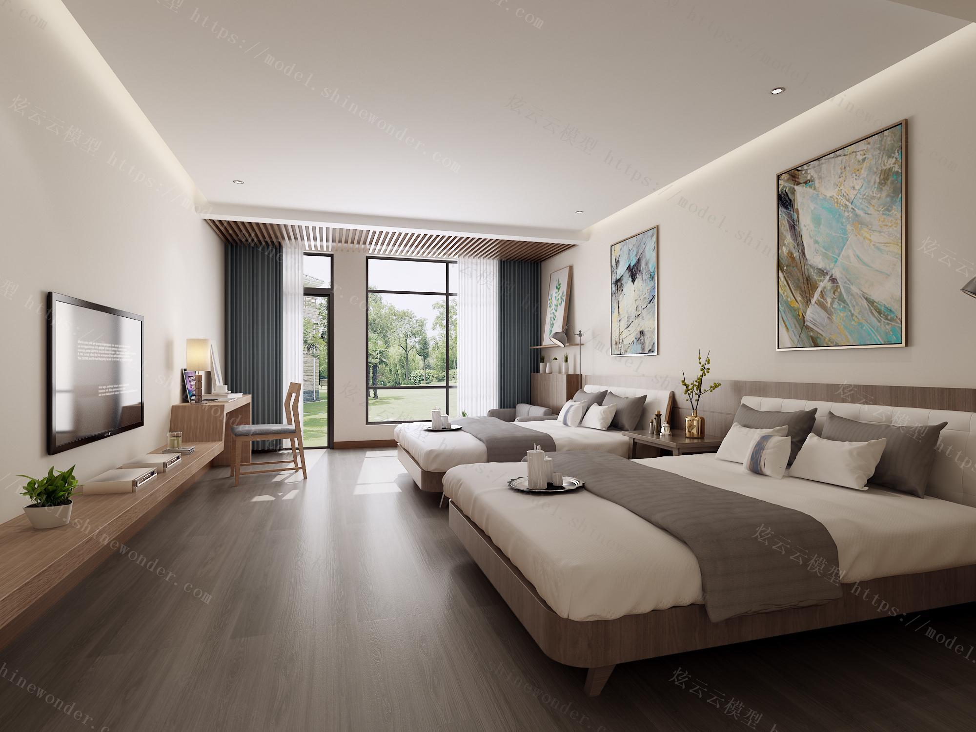 现代酒店双人客房包间标准间模型