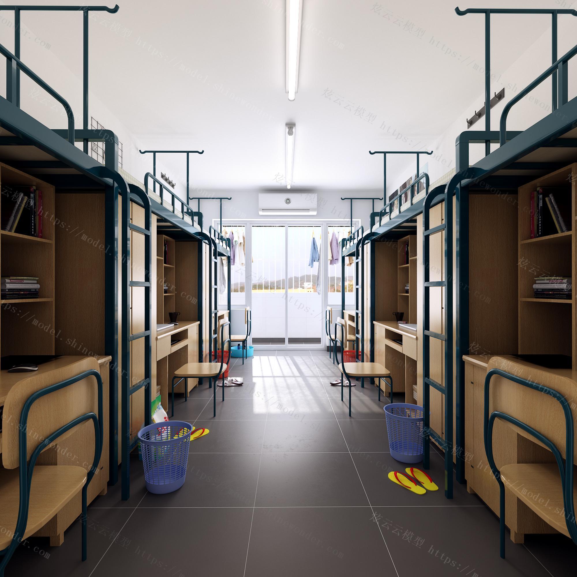 现代学校宿舍模型