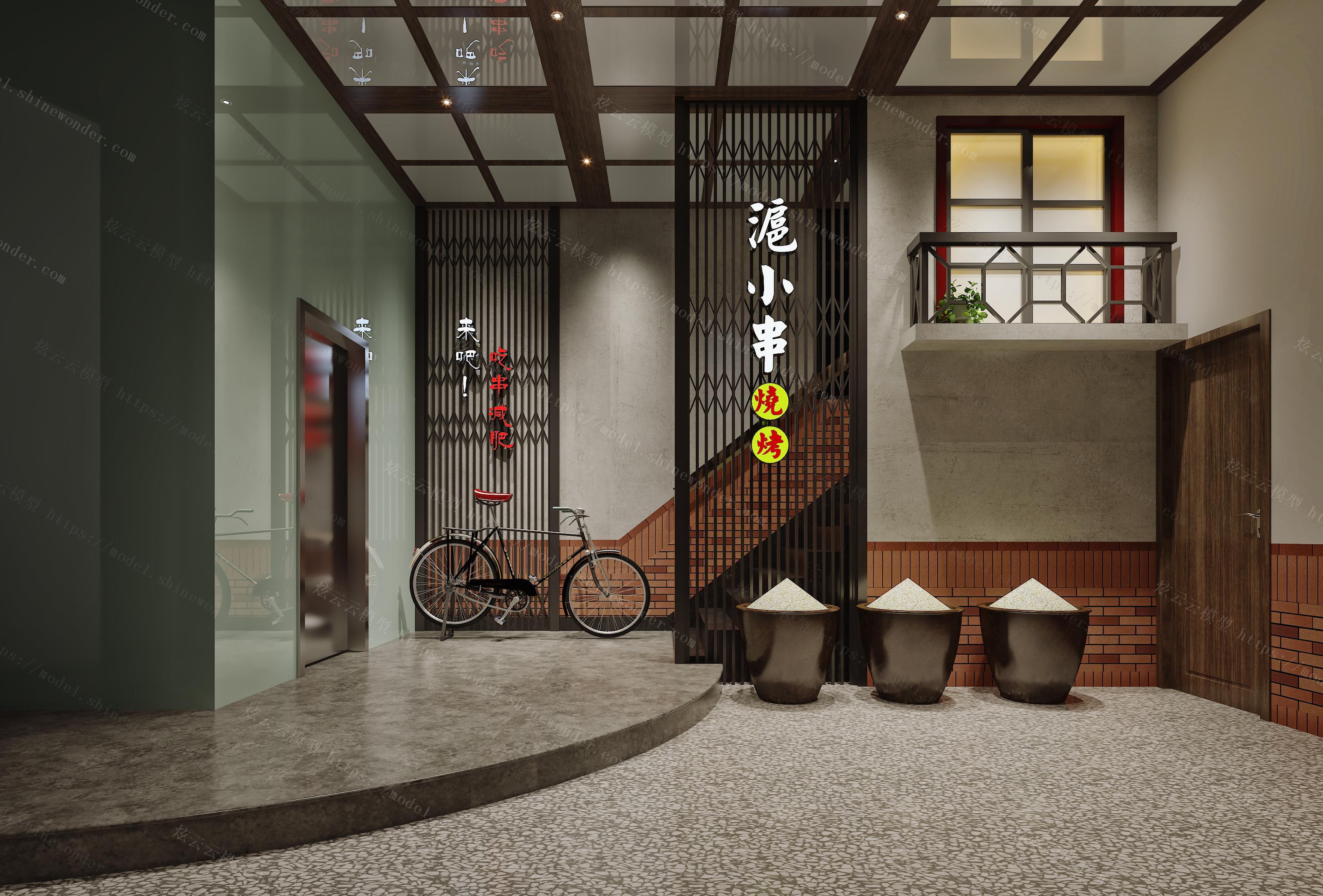 工业风餐厅前厅模型