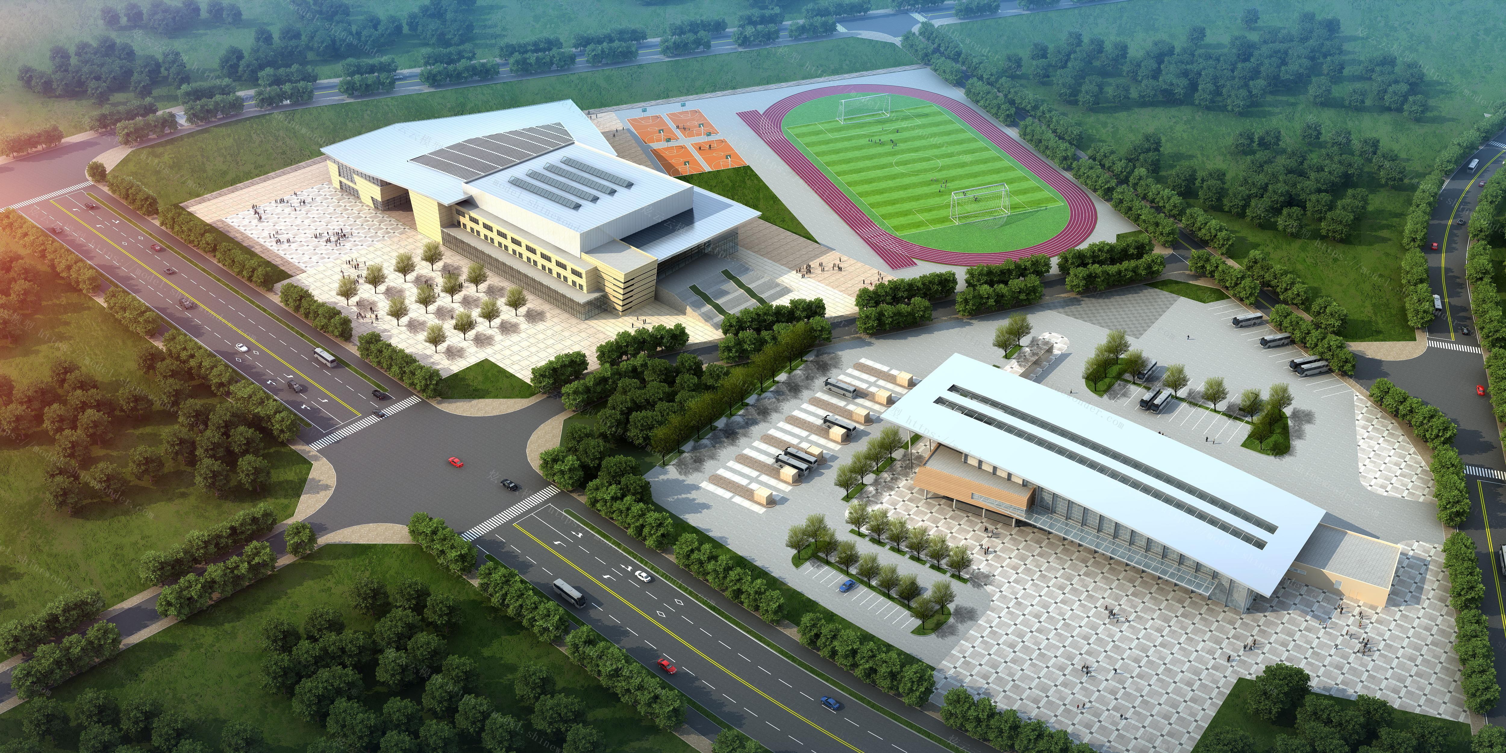 体育馆汽车站建筑外观鸟瞰模型