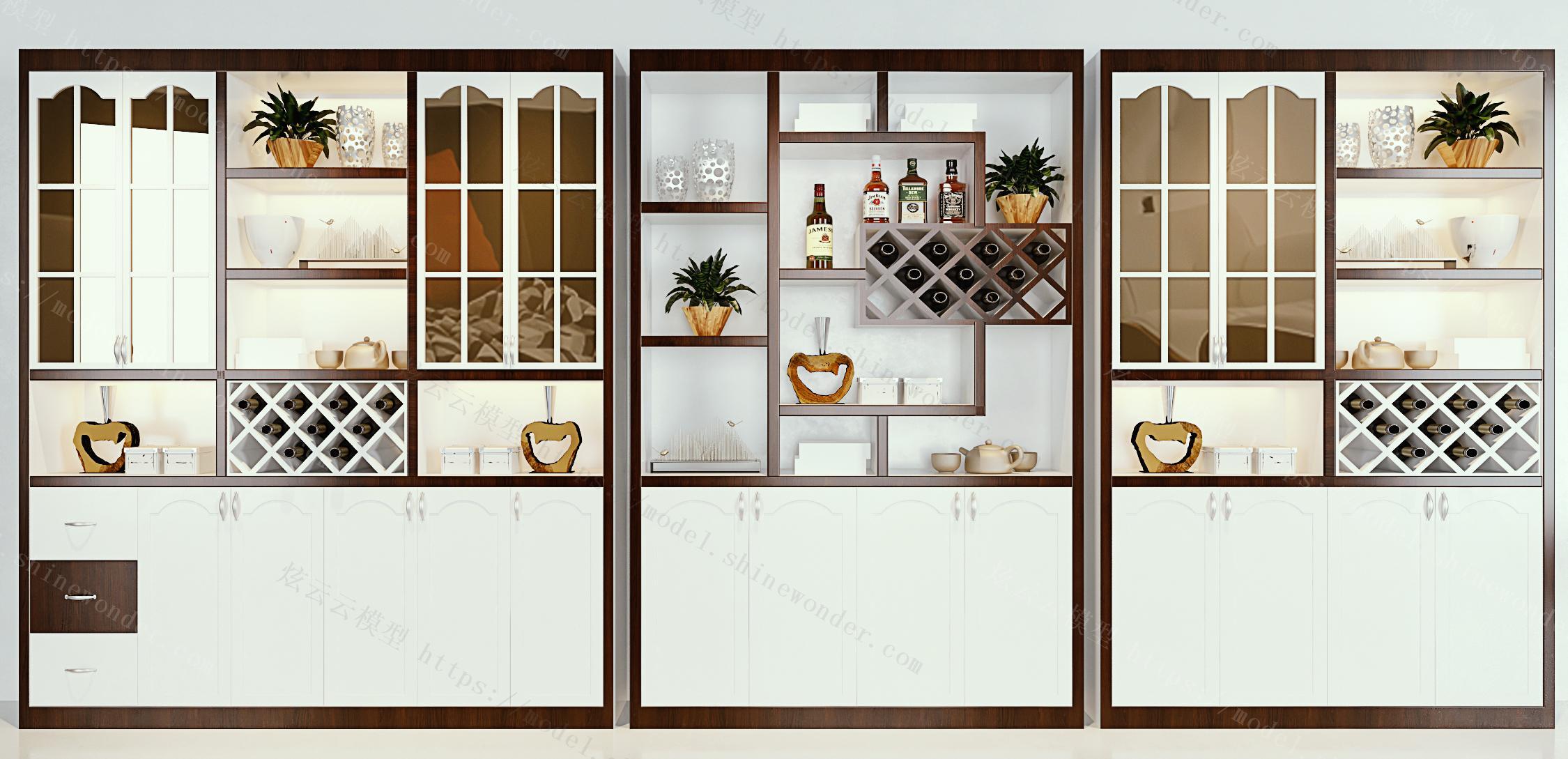 新中式酒柜摆件组合模型