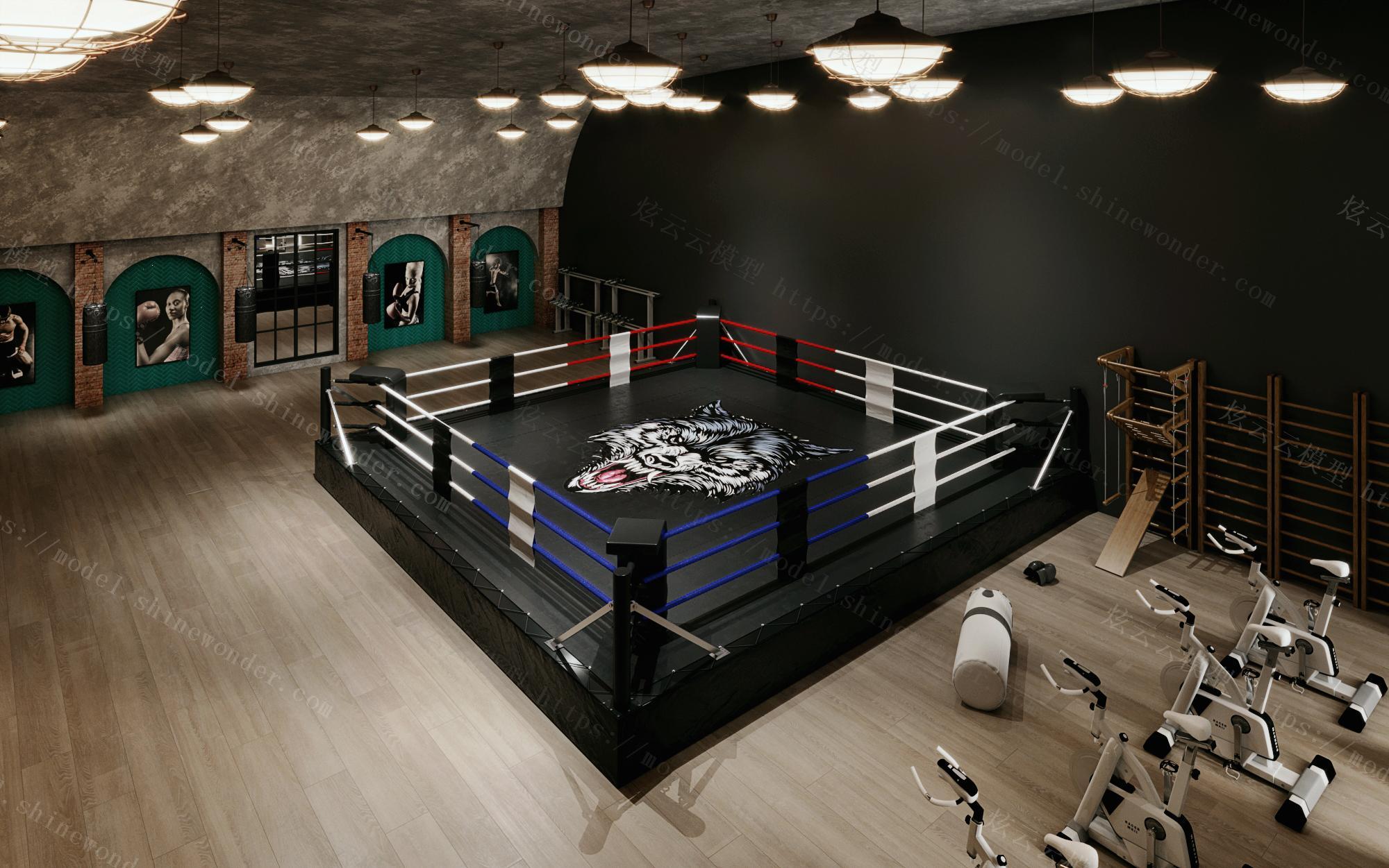 工业风健身房拳击场模型