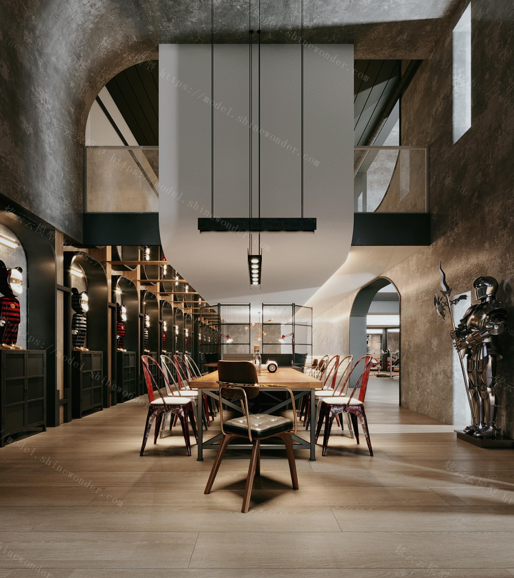 现代工业风健身房接待餐厅模型