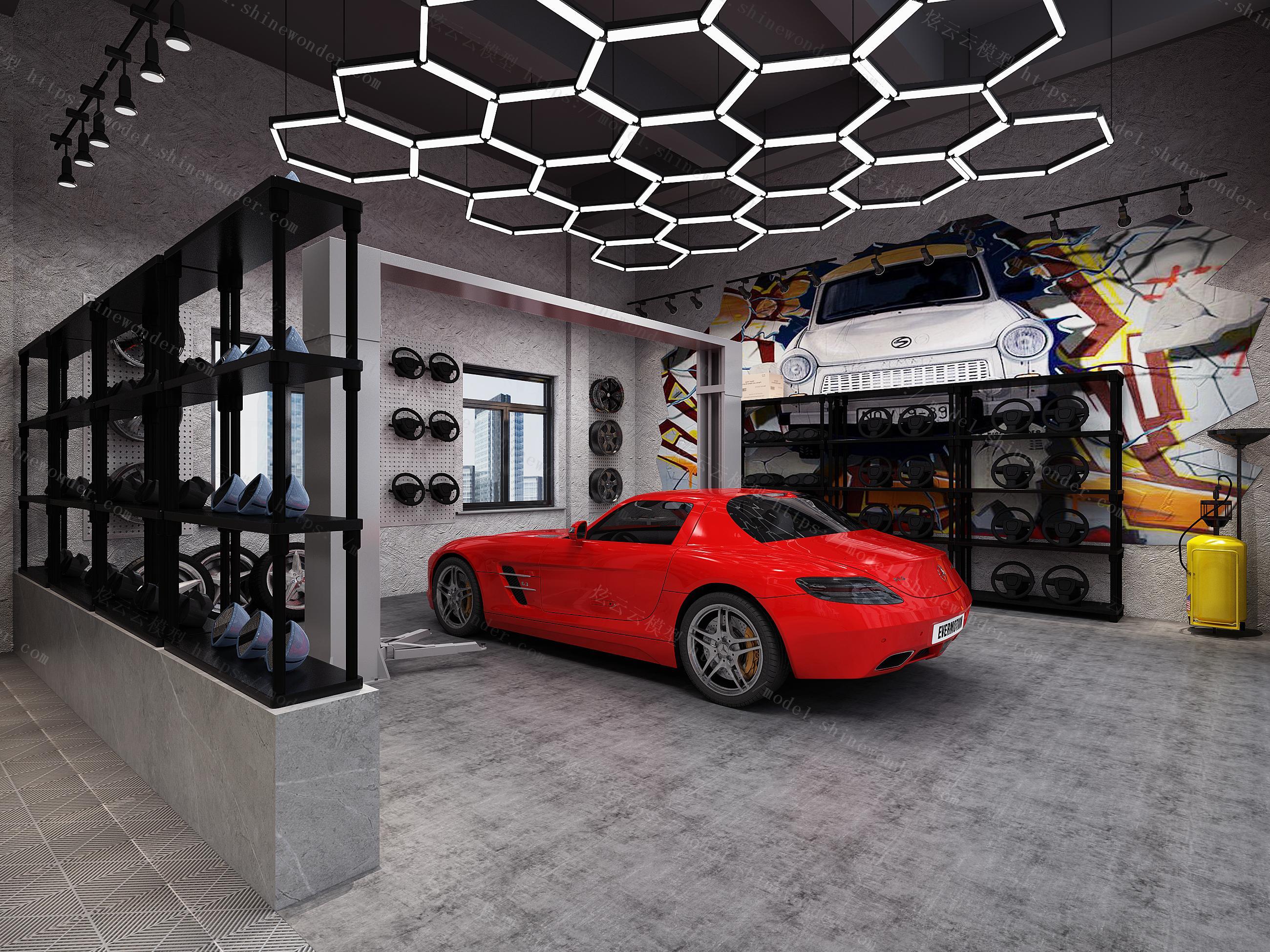 工业风汽车维修美容中心模型