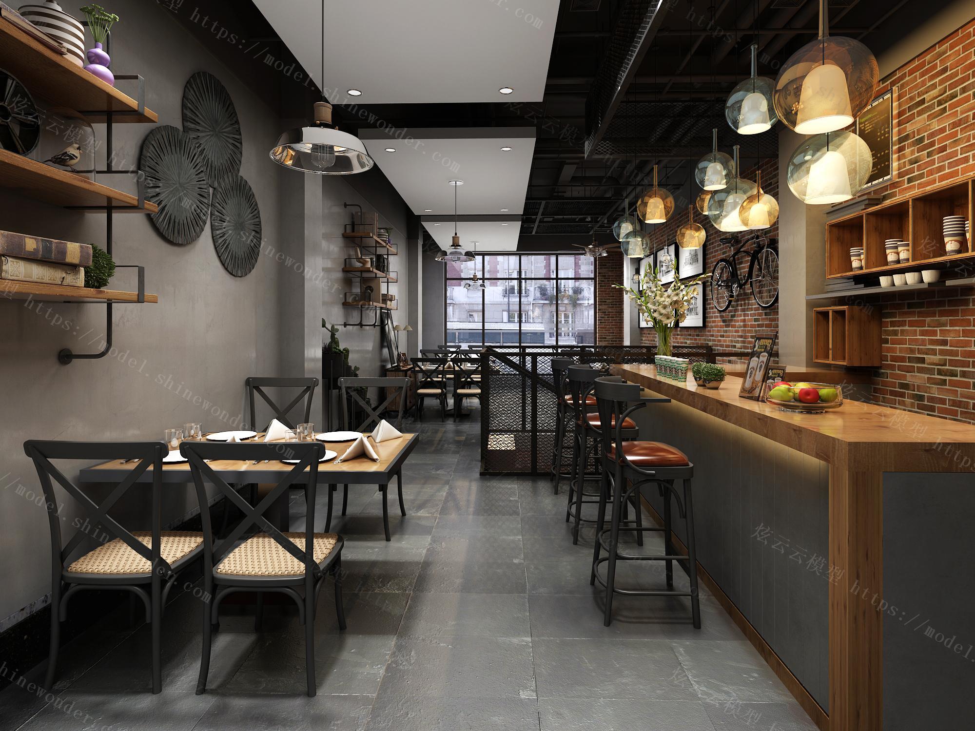 工业风咖啡厅模型