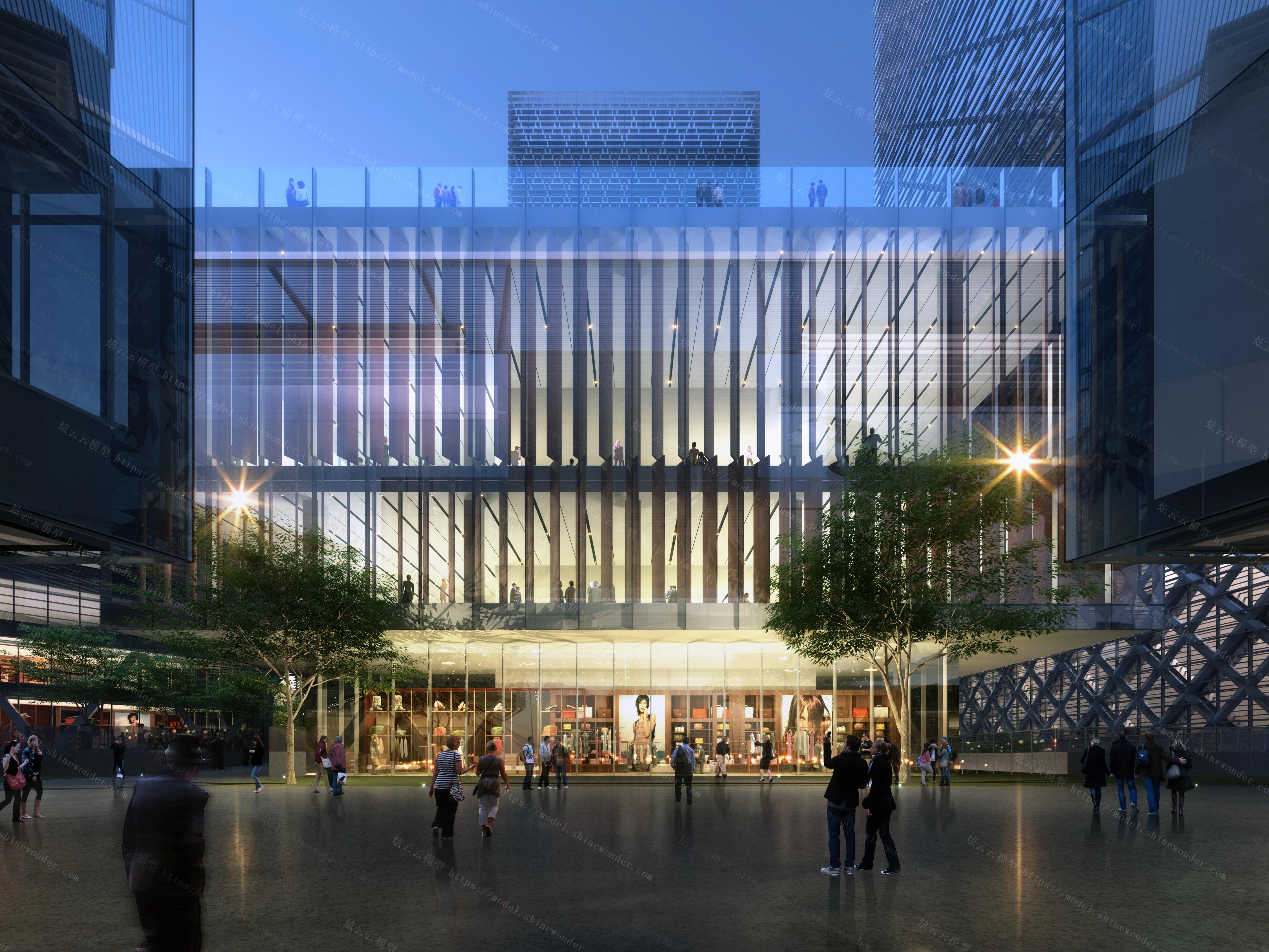 商业街办公楼玻璃幕墙模型