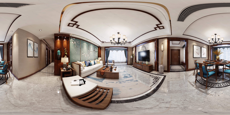 新中式客餐厅模型