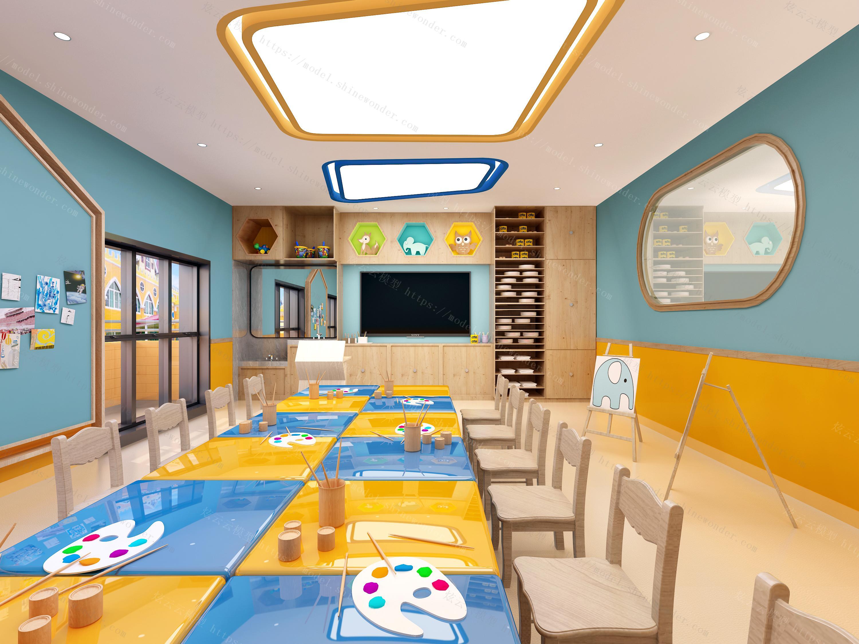 幼儿园美术室模型