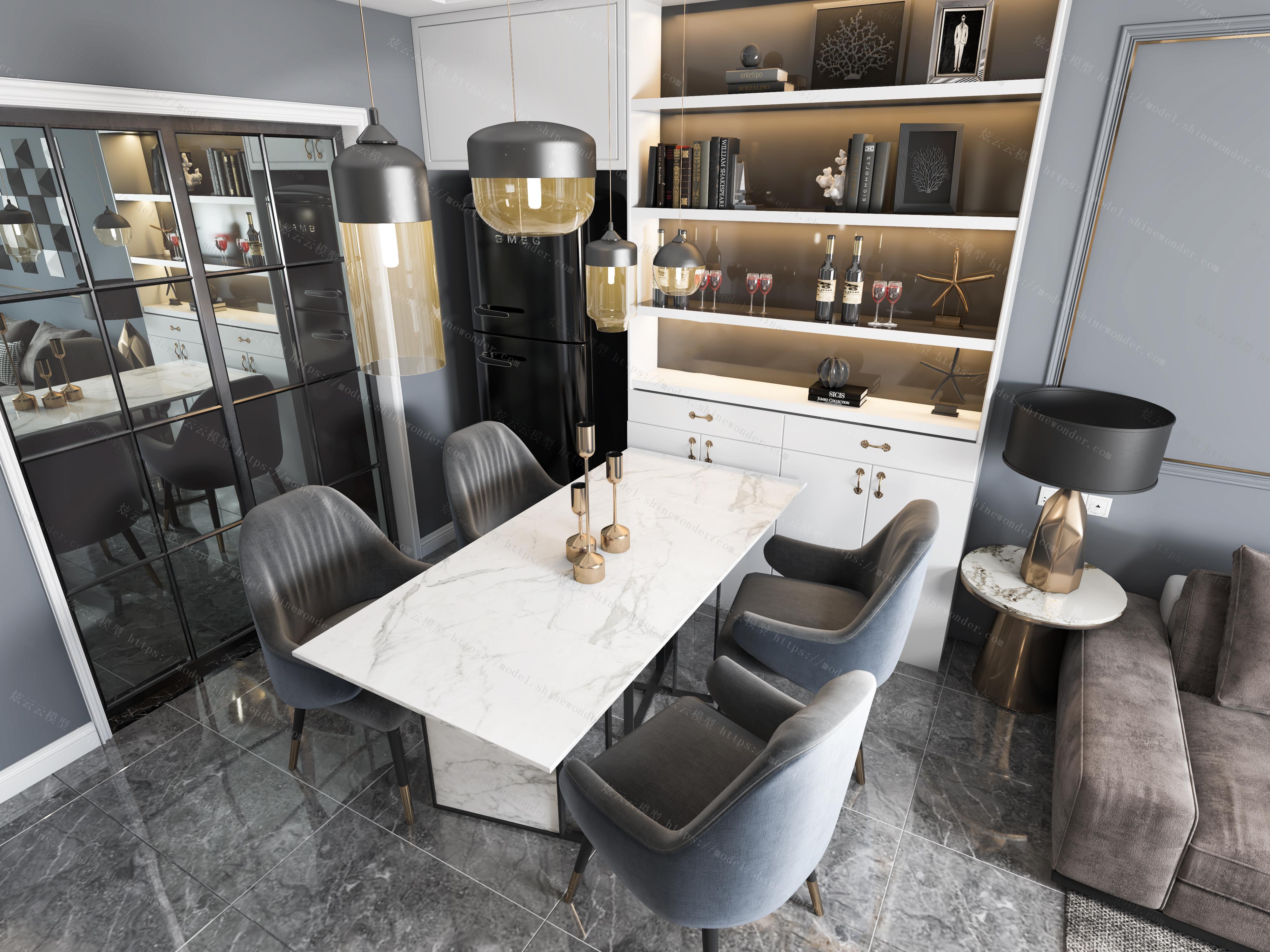 现代轻奢客餐厅全景模型