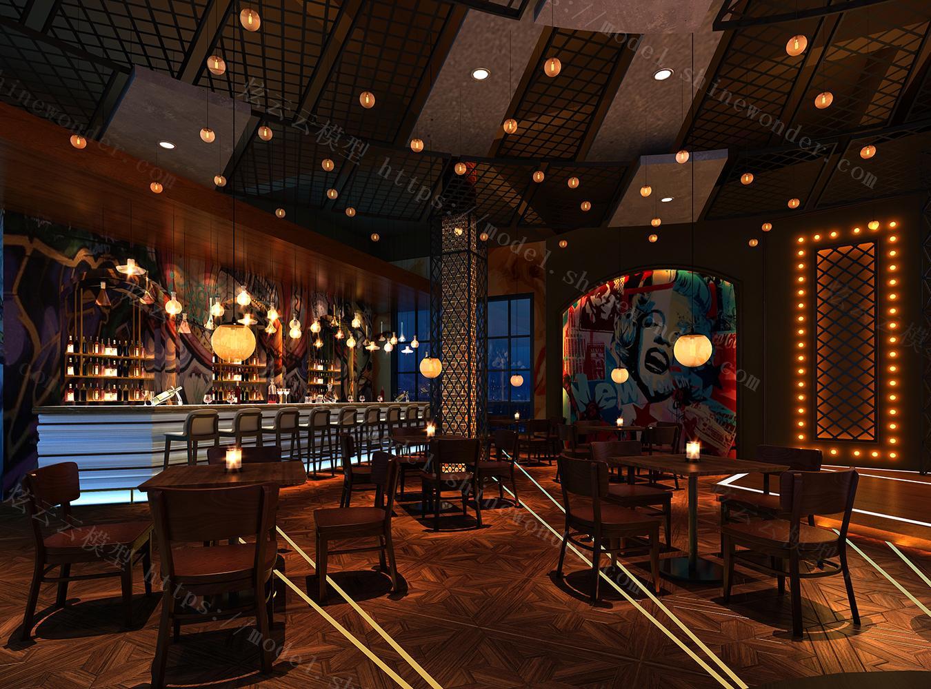 工业风格酒吧模型
