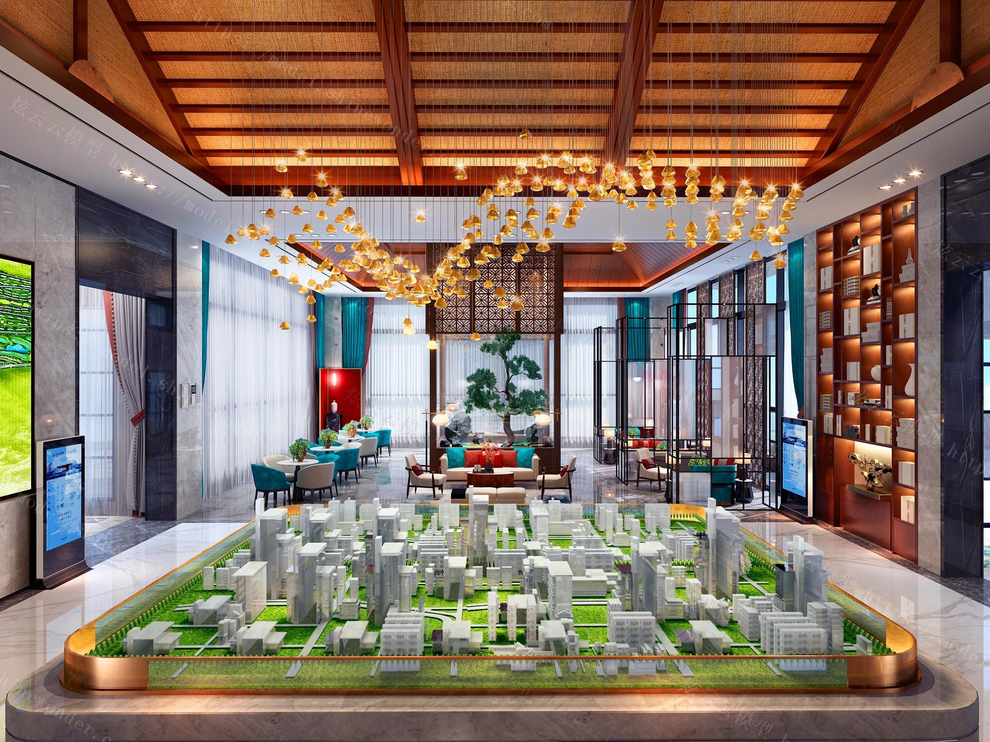 现代新中式售楼处接待大厅模型
