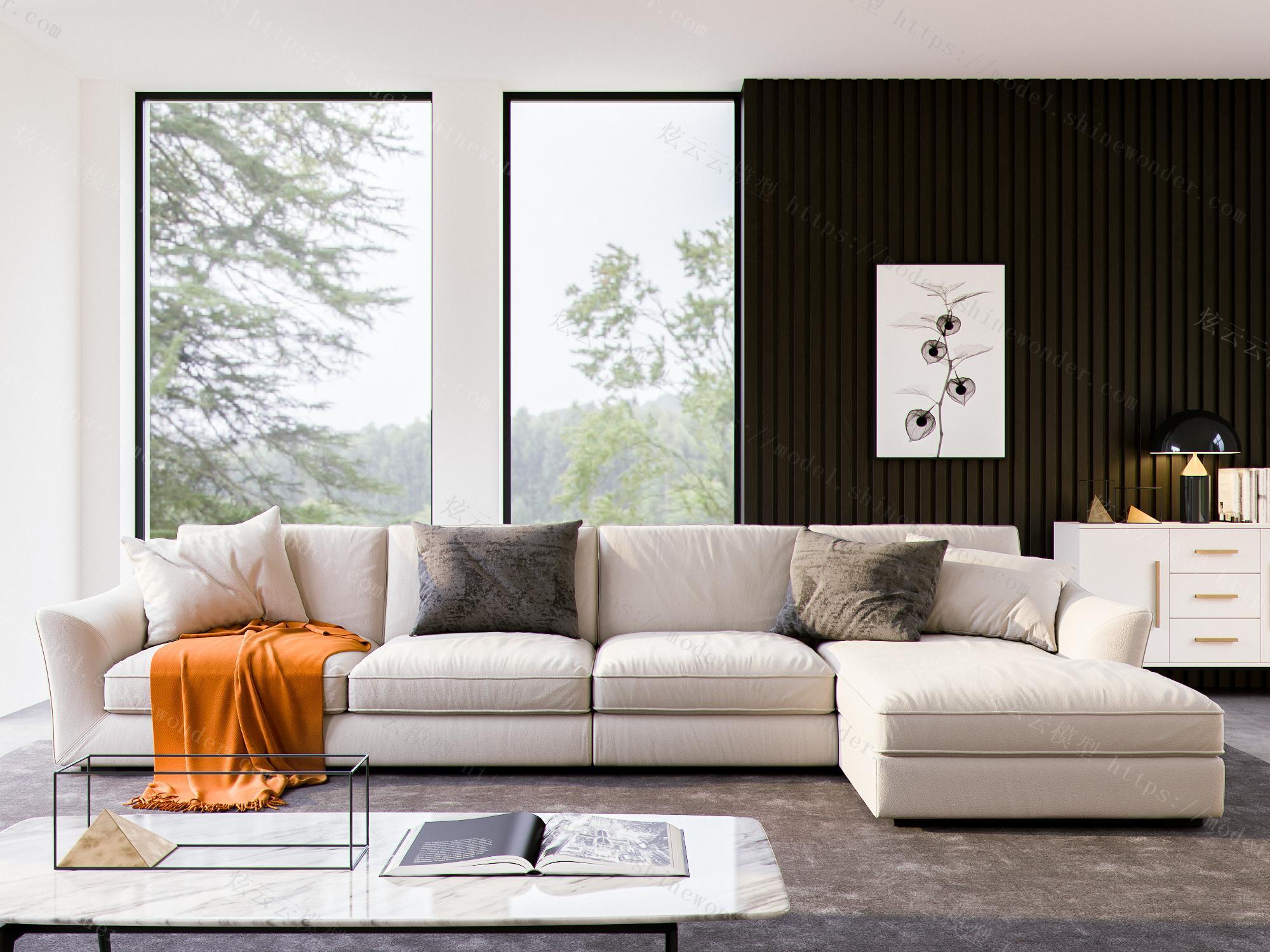 现代L型沙发组合模型