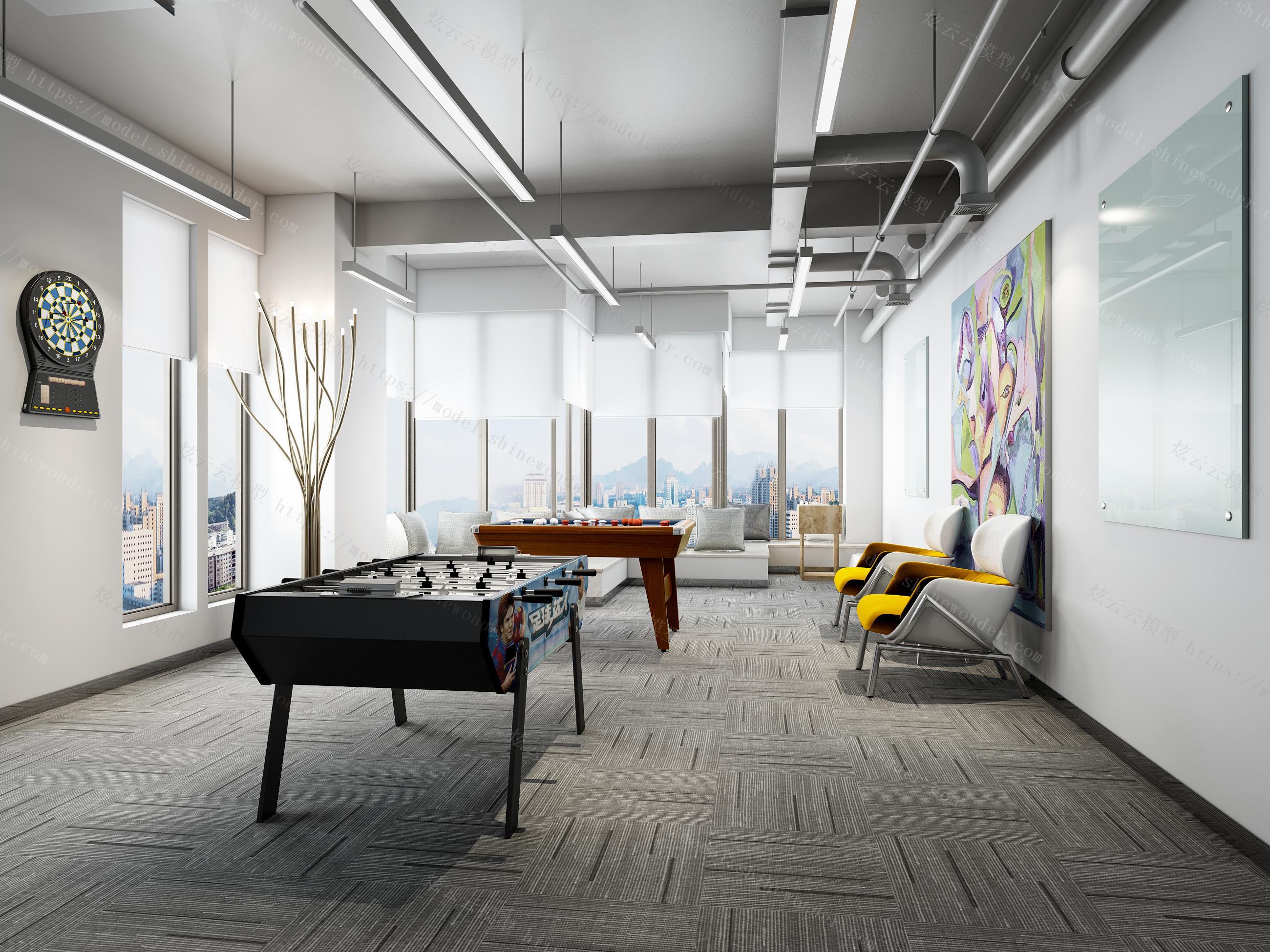现代办公休闲室模型