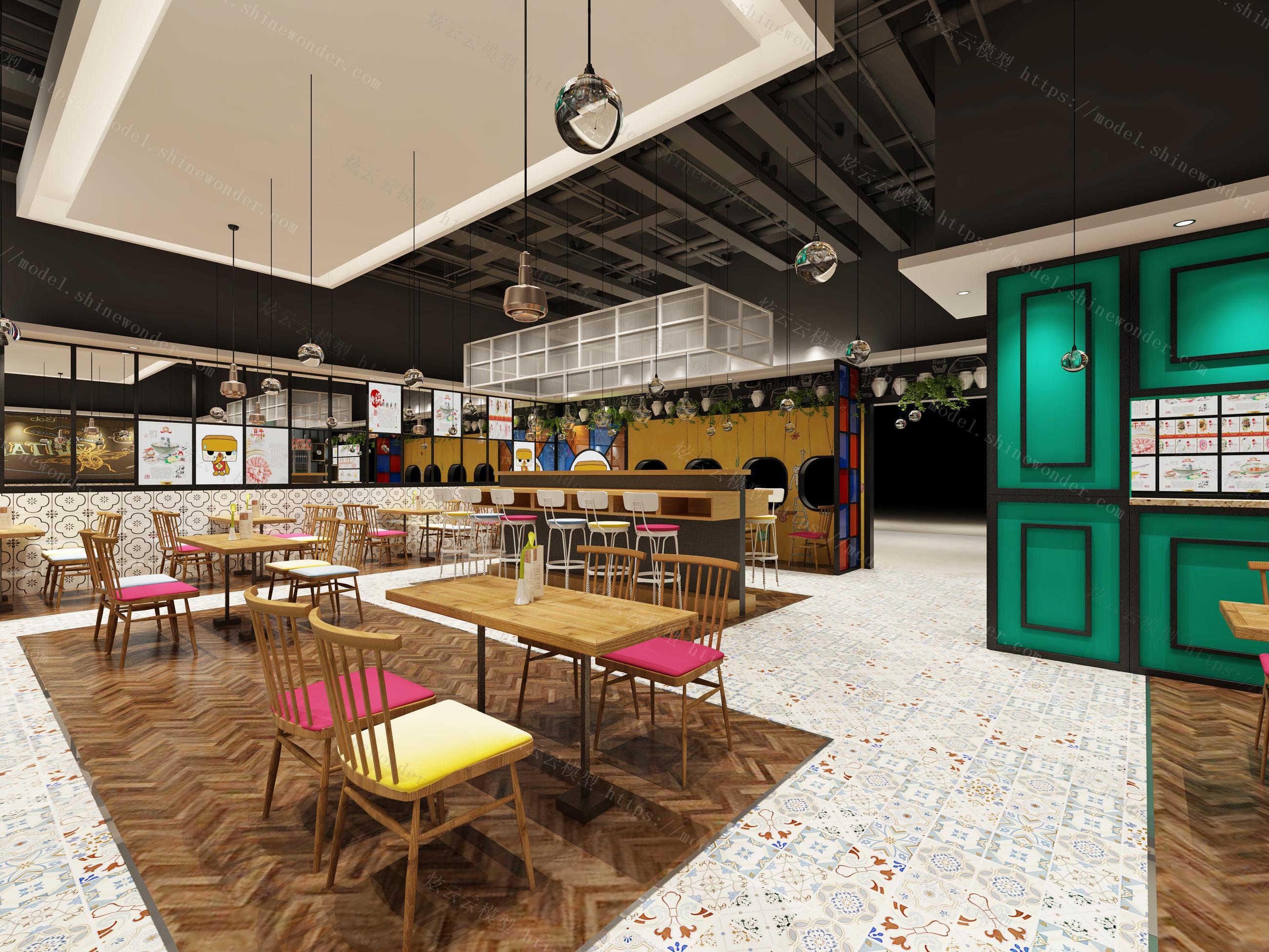 工业风火锅店餐厅模型