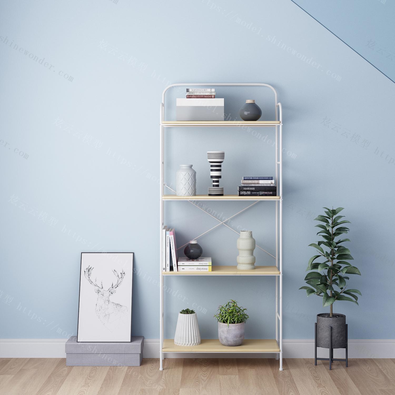 欧简约落地书柜书架家用置物架书房架子钢木书架LS093模型