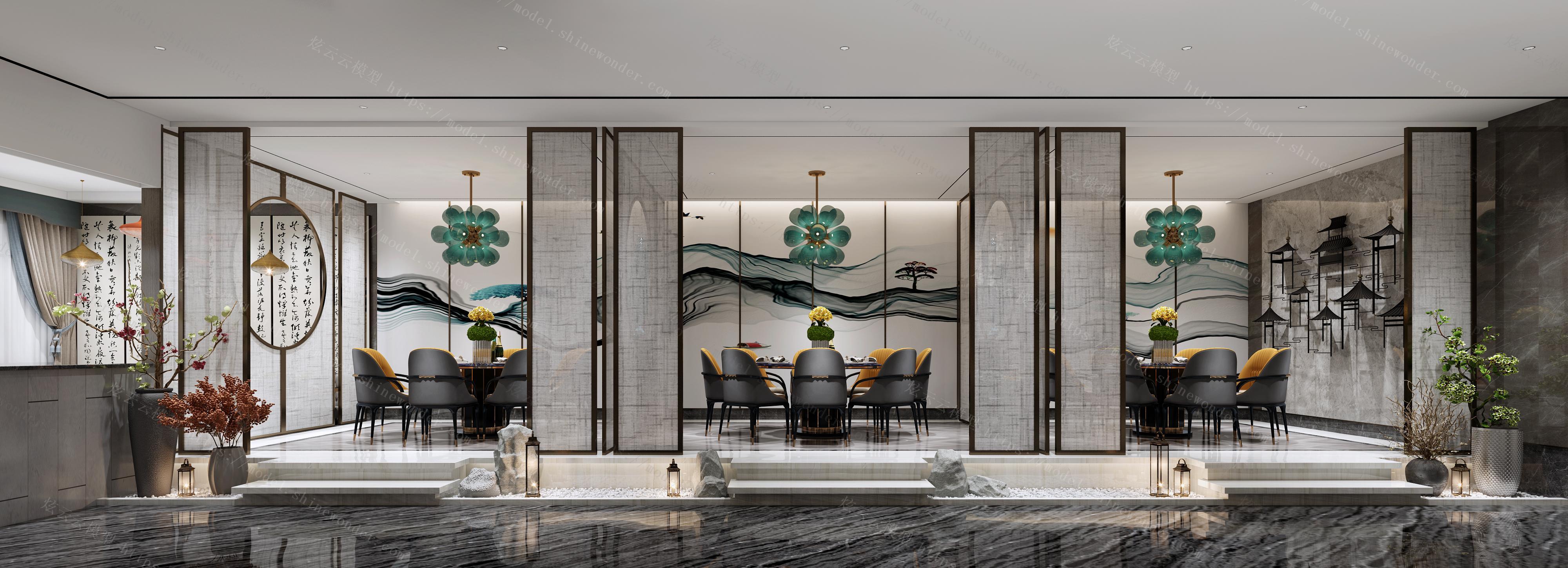 新中式酒店餐厅包间模型