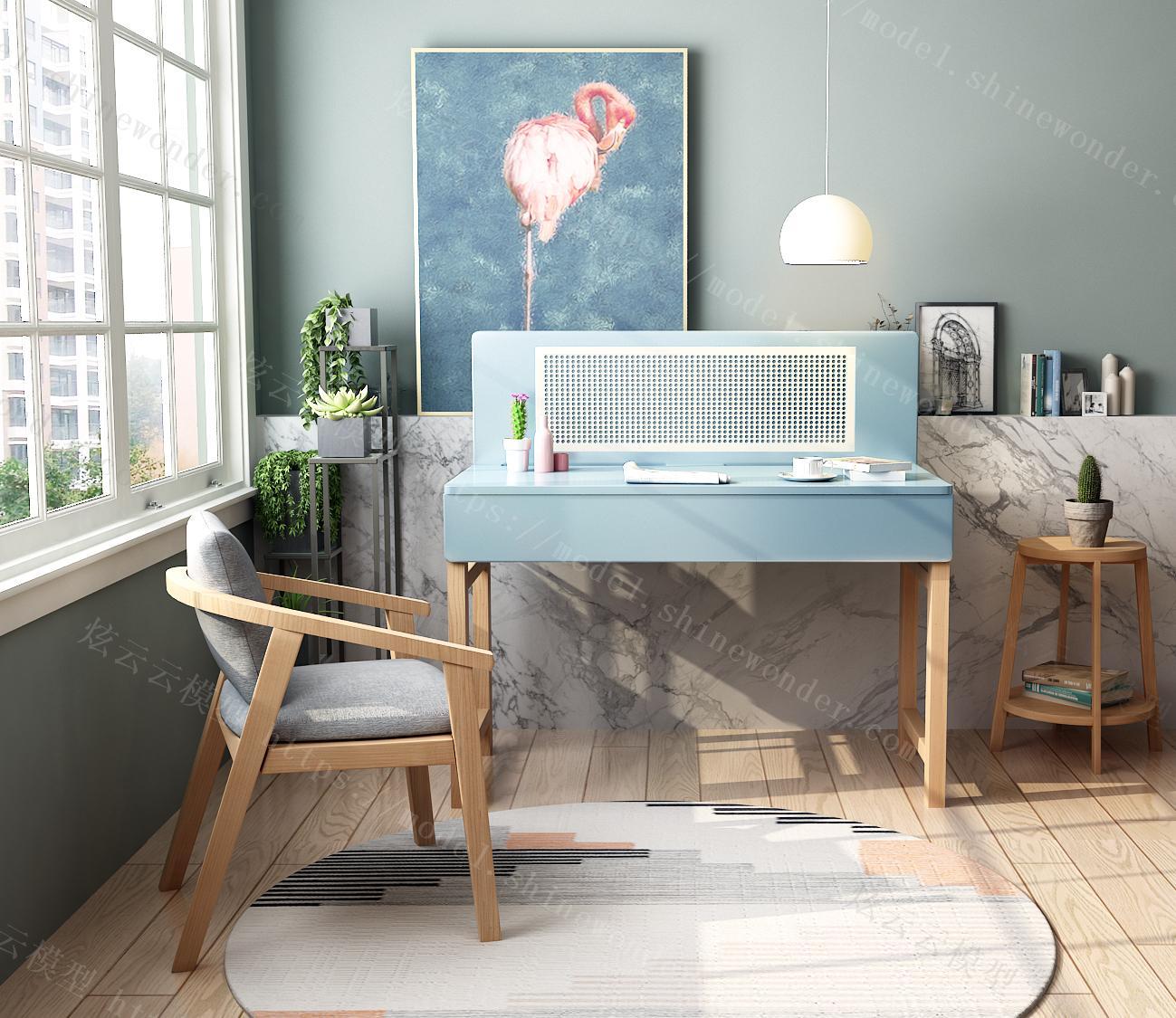 书房电脑书桌椅子组合现代简约家用卧室写字台家具模型