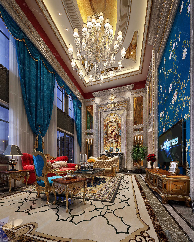 欧式奢华挑空客厅模型