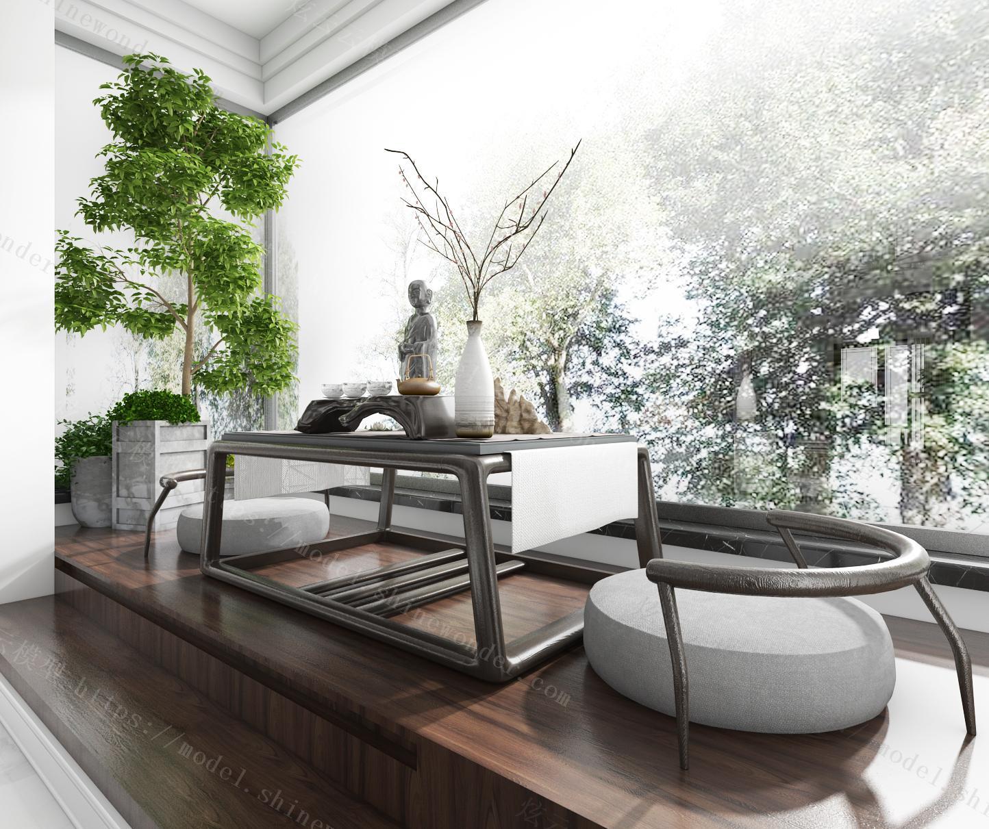 新中式桌椅模型