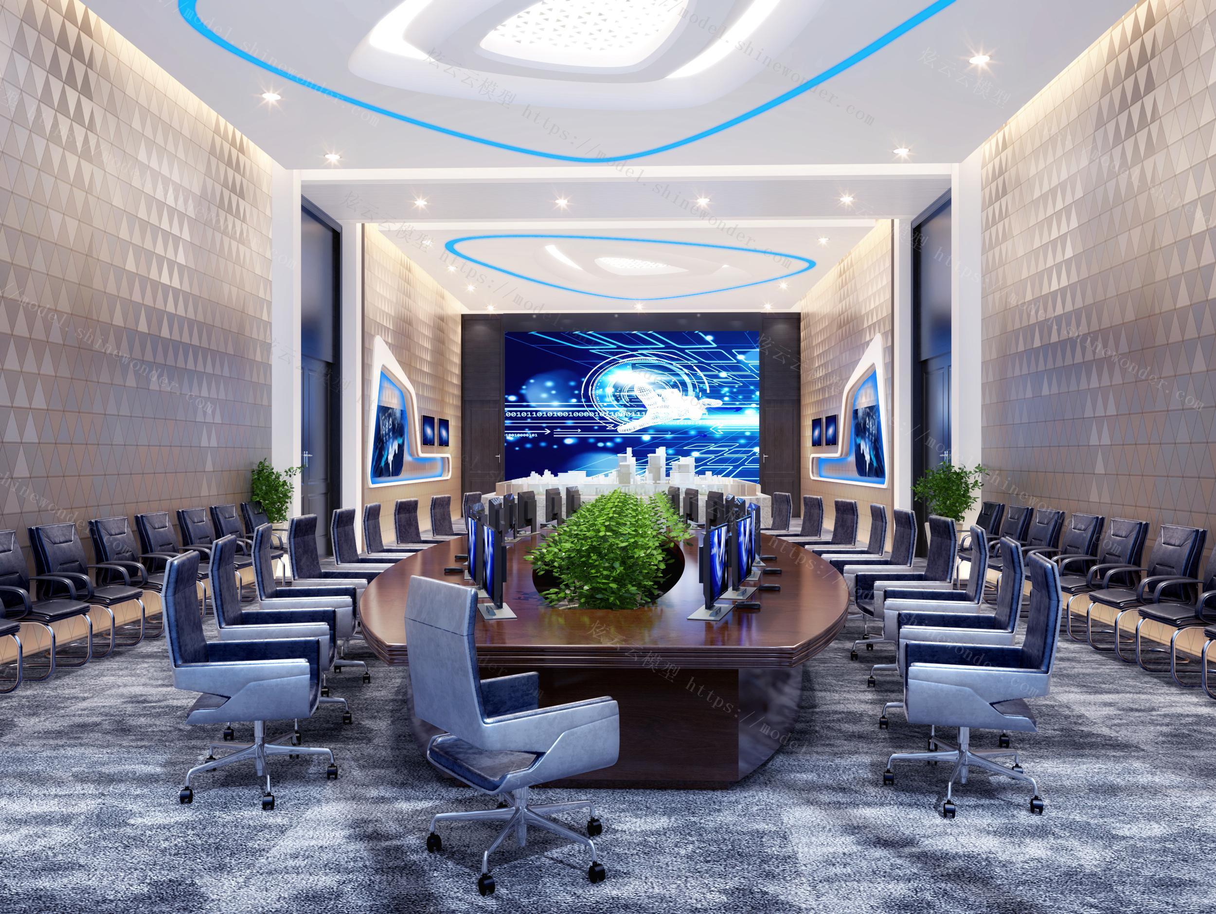 现代多媒体监控室展厅模型