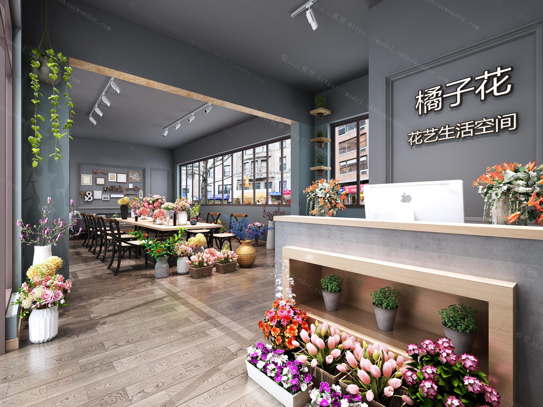 现代鲜花专卖店模型