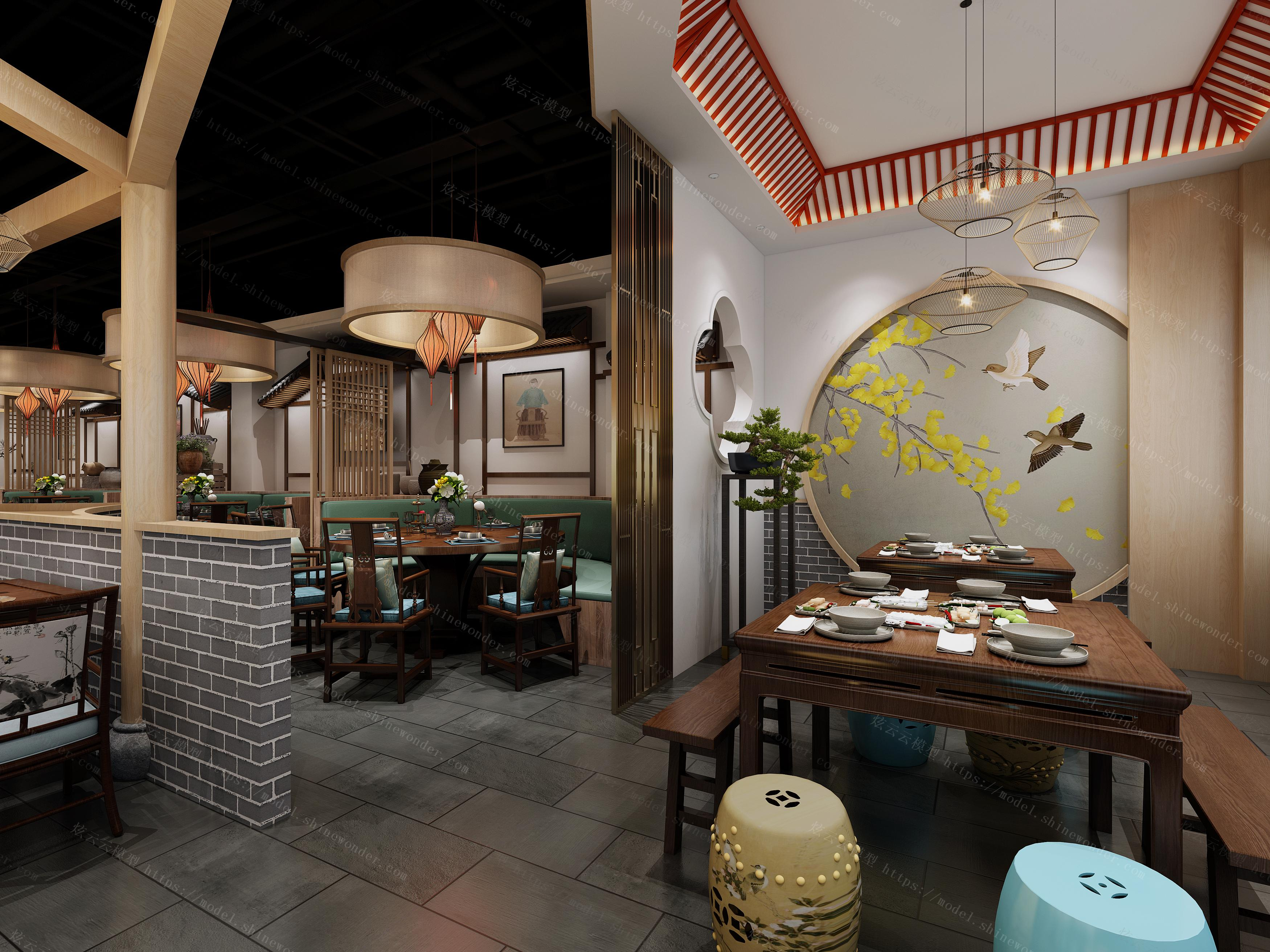 中式传统餐厅模型