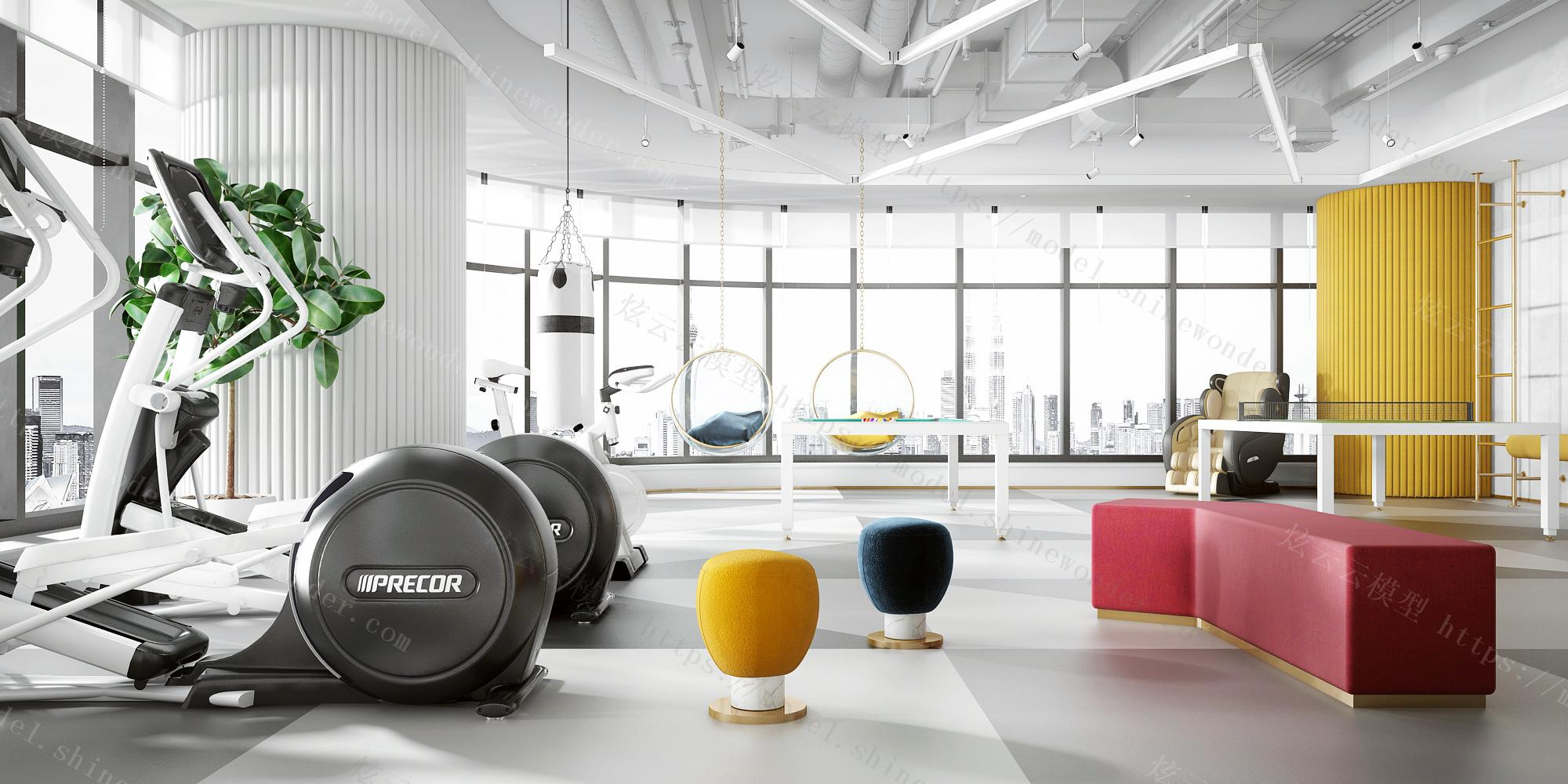 现代办公健身活动室模型