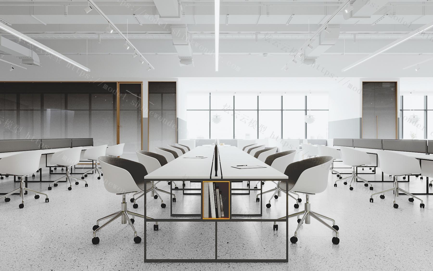 现代办公室开敞办公区模型