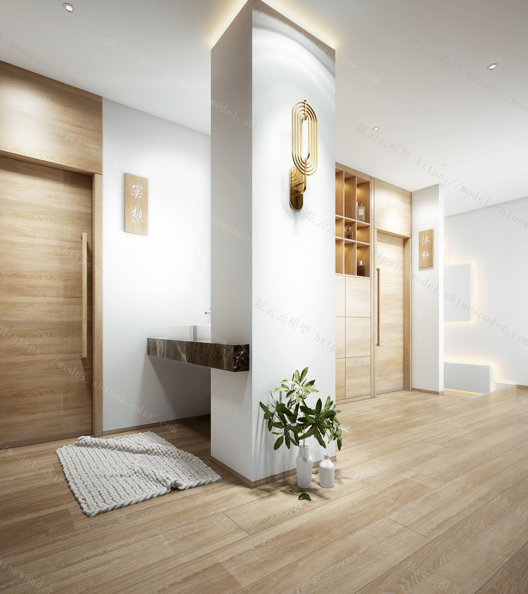 日式美容美甲门厅过道模型