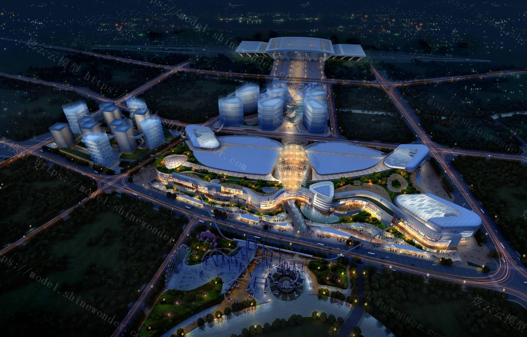现代商业综合体建筑模型模型