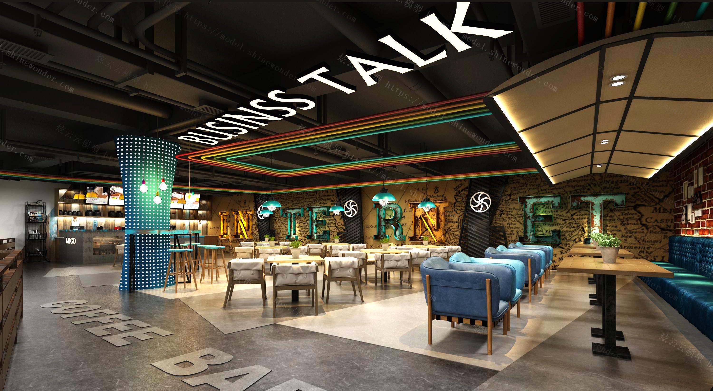 工业风复古咖啡厅模型