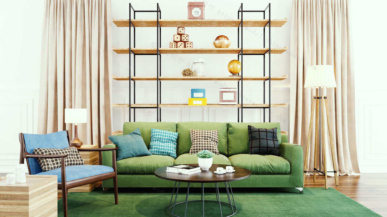 北欧沙发茶几椅子窗帘摆件组合模型