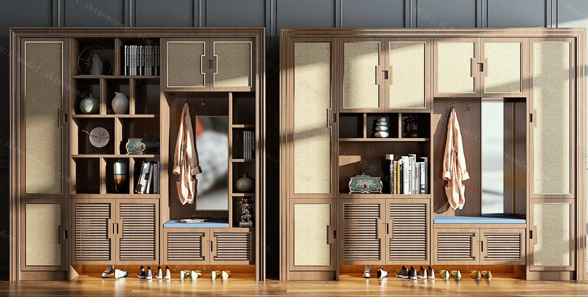 新中式玄关柜鞋柜组合模型