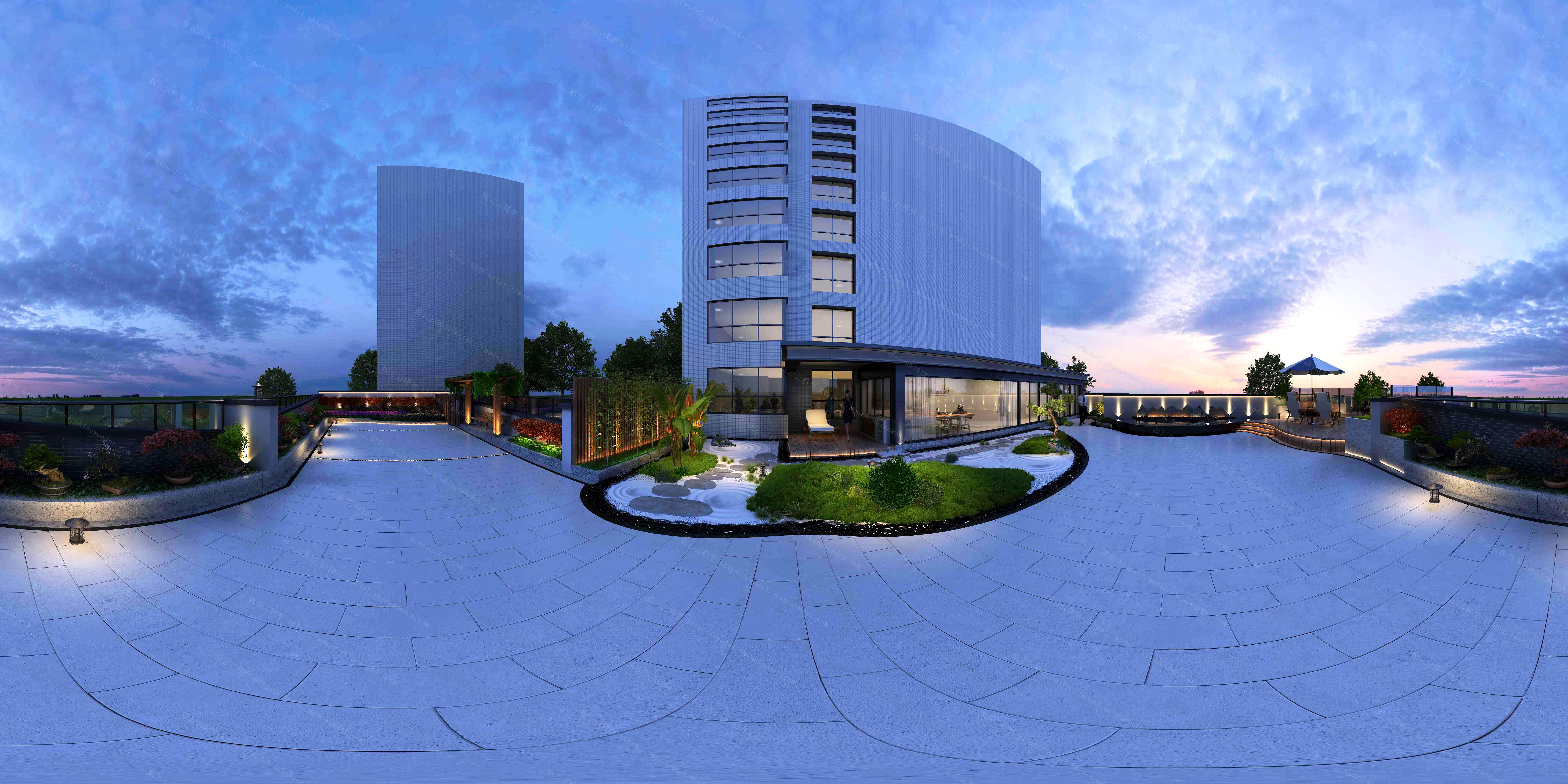 露台庭院全景模型