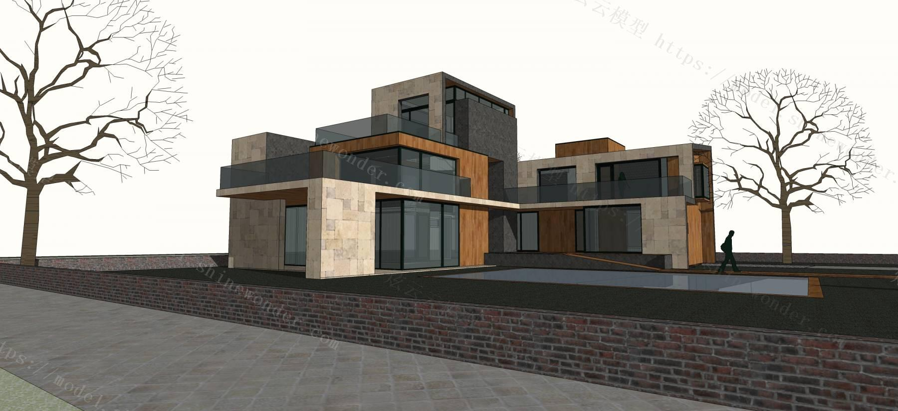 现代风格别墅建筑模型模型