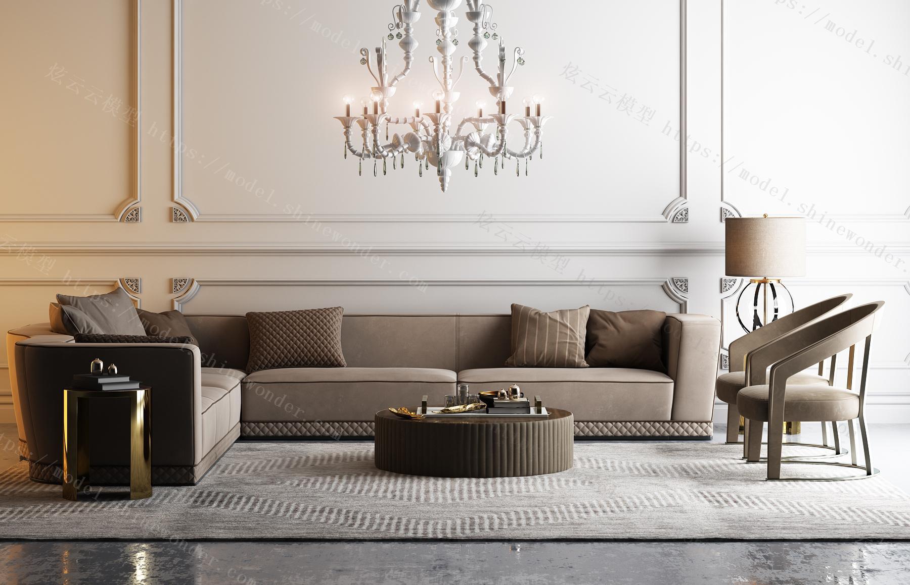 L型现代沙发模型